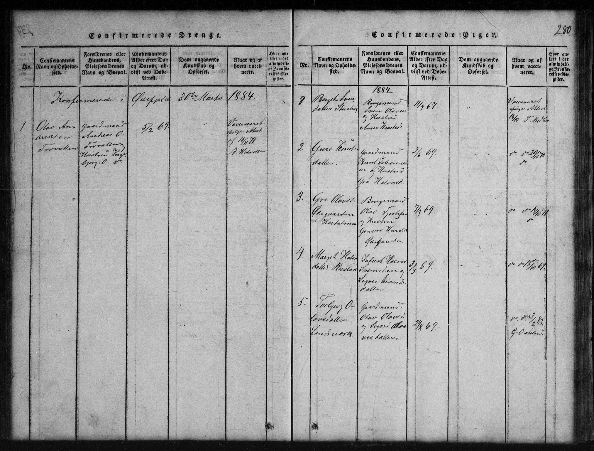 SAKO, Rauland kirkebøker, G/Gb/L0001: Klokkerbok nr. II 1, 1815-1886, s. 280