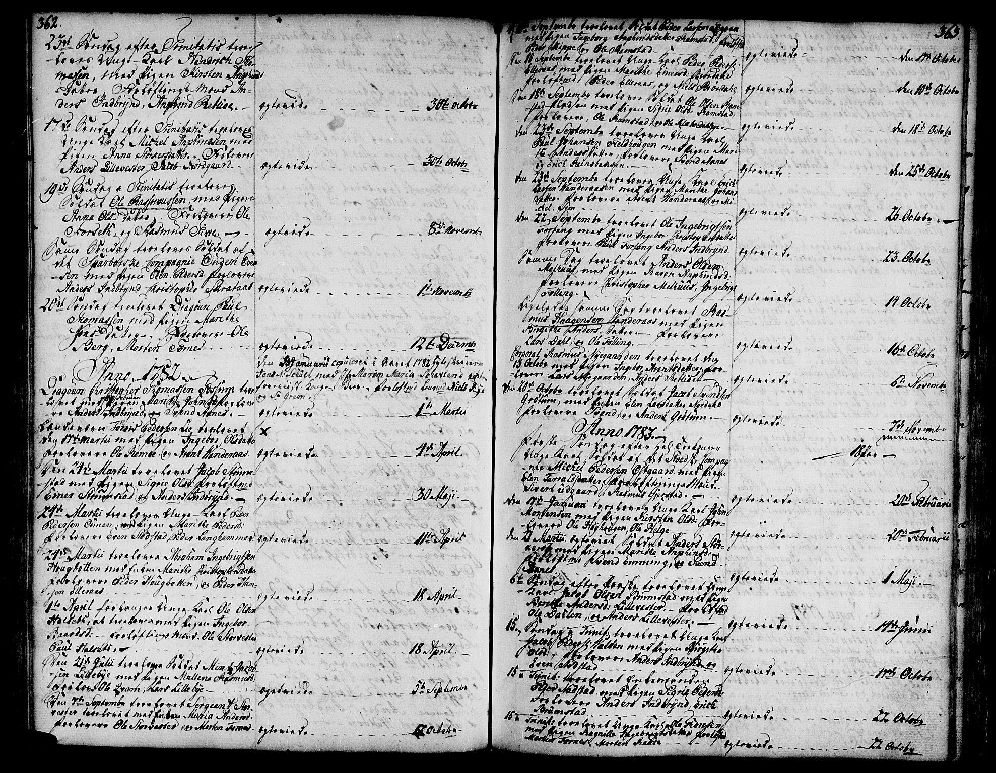 SAT, Ministerialprotokoller, klokkerbøker og fødselsregistre - Nord-Trøndelag, 746/L0440: Ministerialbok nr. 746A02, 1760-1815, s. 362-363