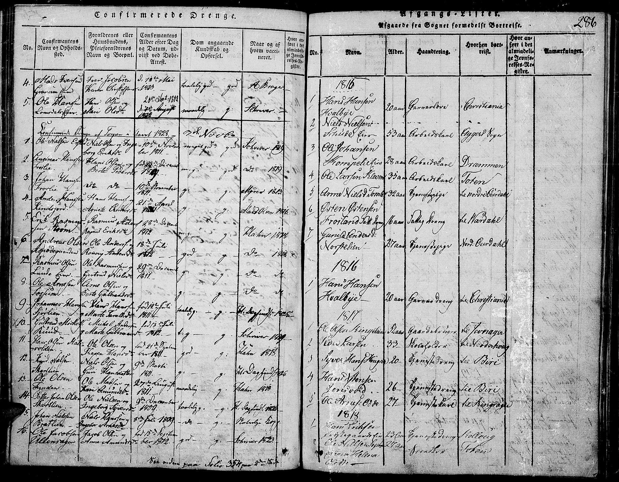SAH, Land prestekontor, Ministerialbok nr. 7, 1814-1830, s. 286