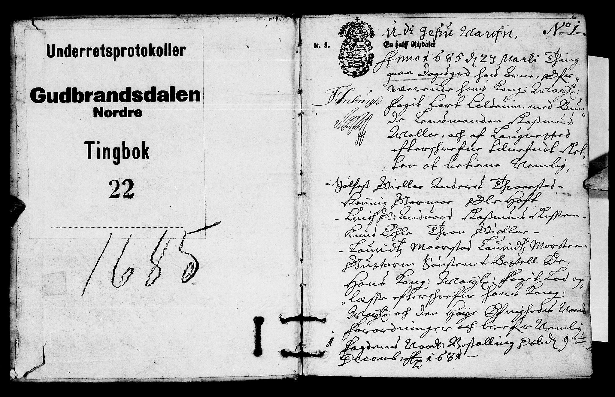 SAH, Sorenskriverier i Gudbrandsdalen, G/Gb/Gba/L0021: Tingbok - Nord-Gudbrandsdal, 1685, s. 0b-1a