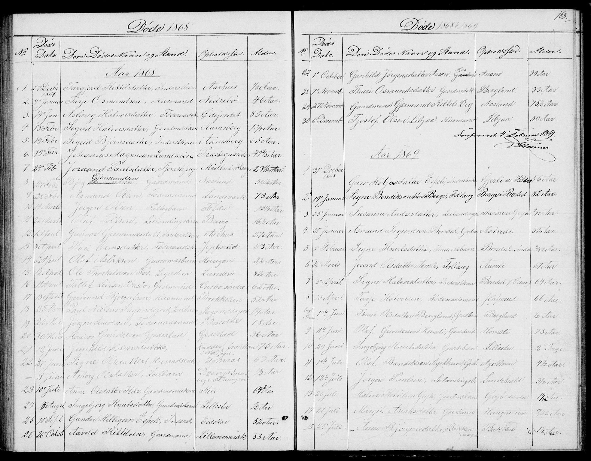 SAKO, Fyresdal kirkebøker, G/Ga/L0004: Klokkerbok nr. I 4, 1864-1892, s. 163
