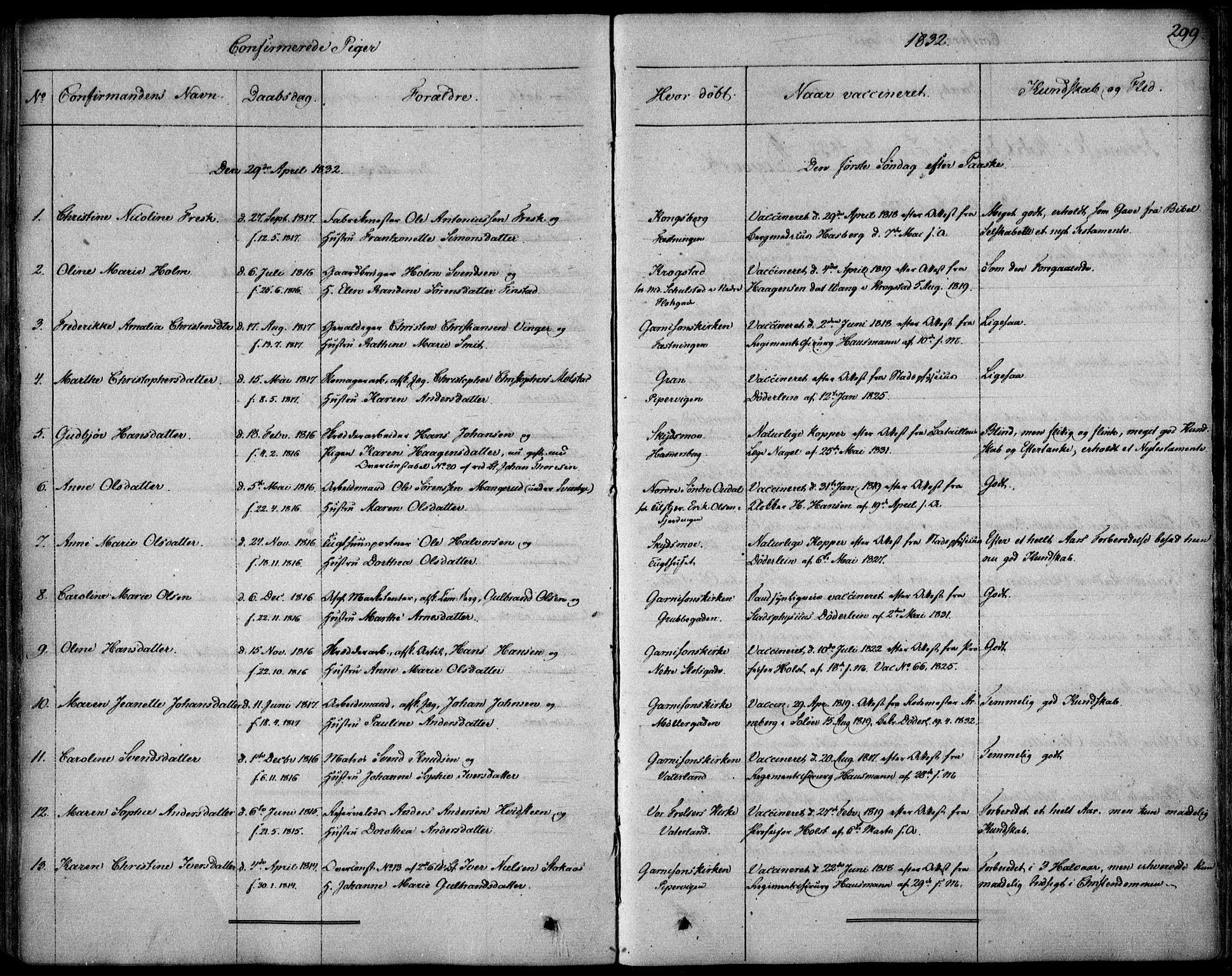 SAO, Garnisonsmenigheten Kirkebøker, F/Fa/L0006: Ministerialbok nr. 6, 1828-1841, s. 299
