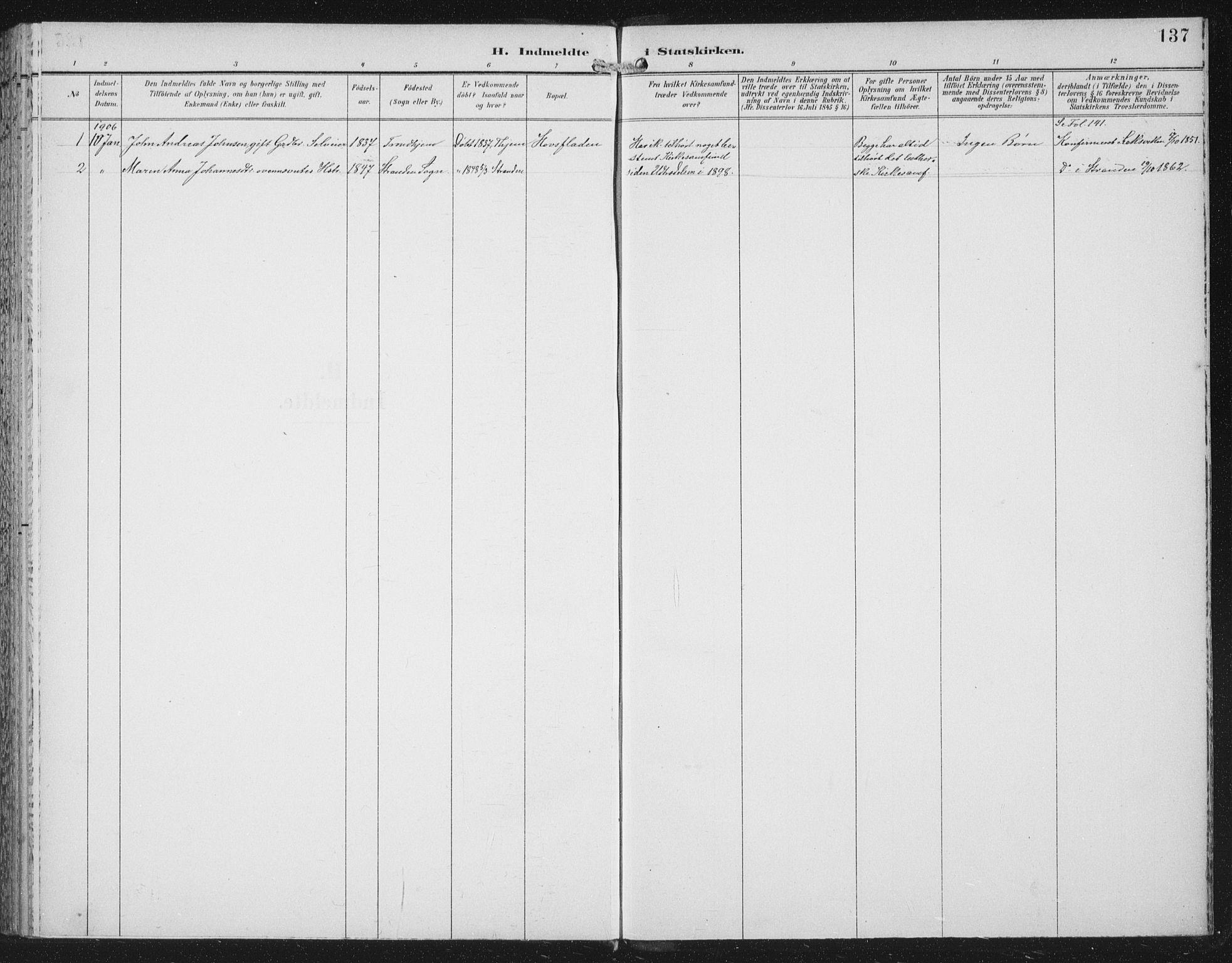 SAT, Ministerialprotokoller, klokkerbøker og fødselsregistre - Nord-Trøndelag, 702/L0024: Ministerialbok nr. 702A02, 1898-1914, s. 137