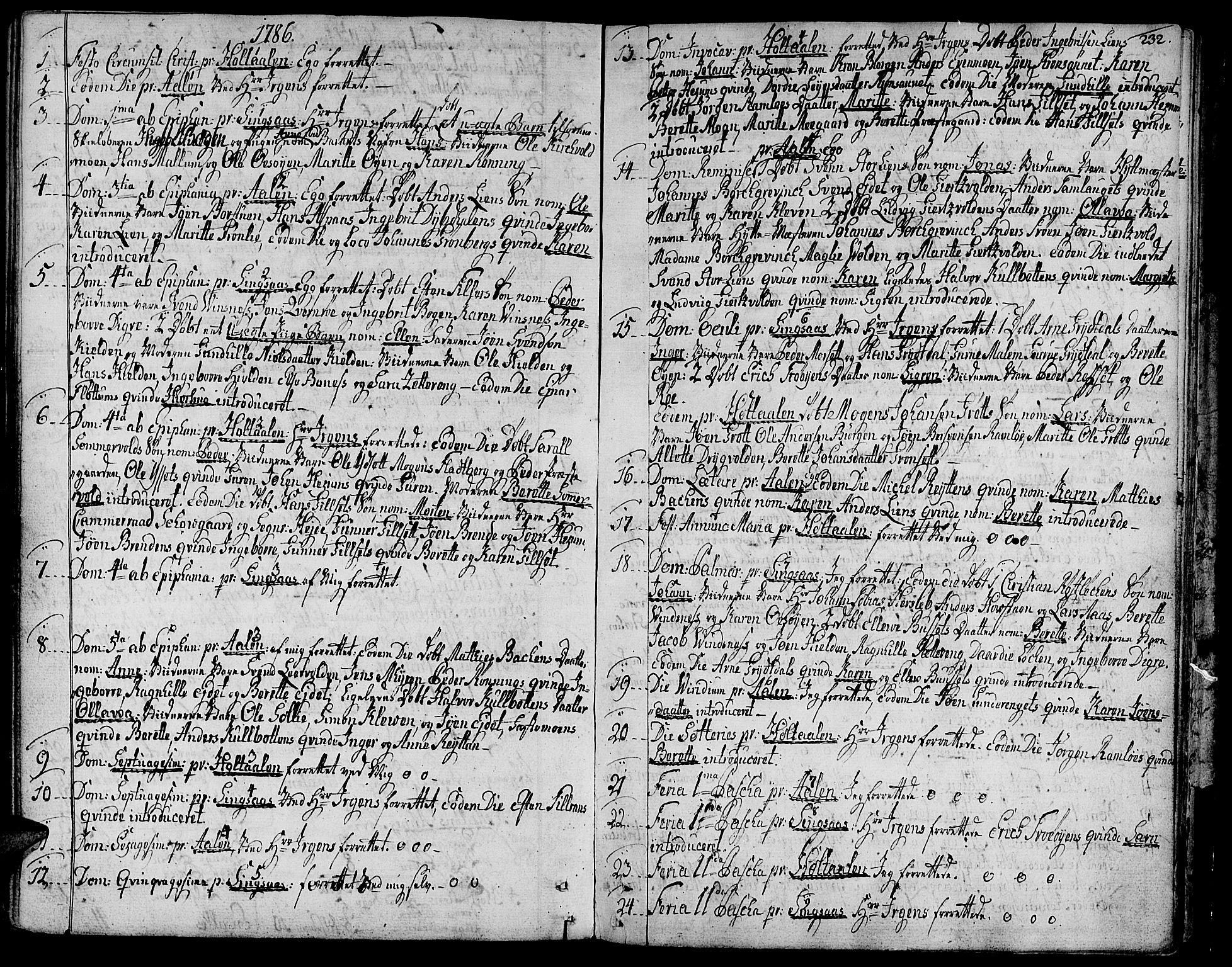 SAT, Ministerialprotokoller, klokkerbøker og fødselsregistre - Sør-Trøndelag, 685/L0952: Ministerialbok nr. 685A01, 1745-1804, s. 232