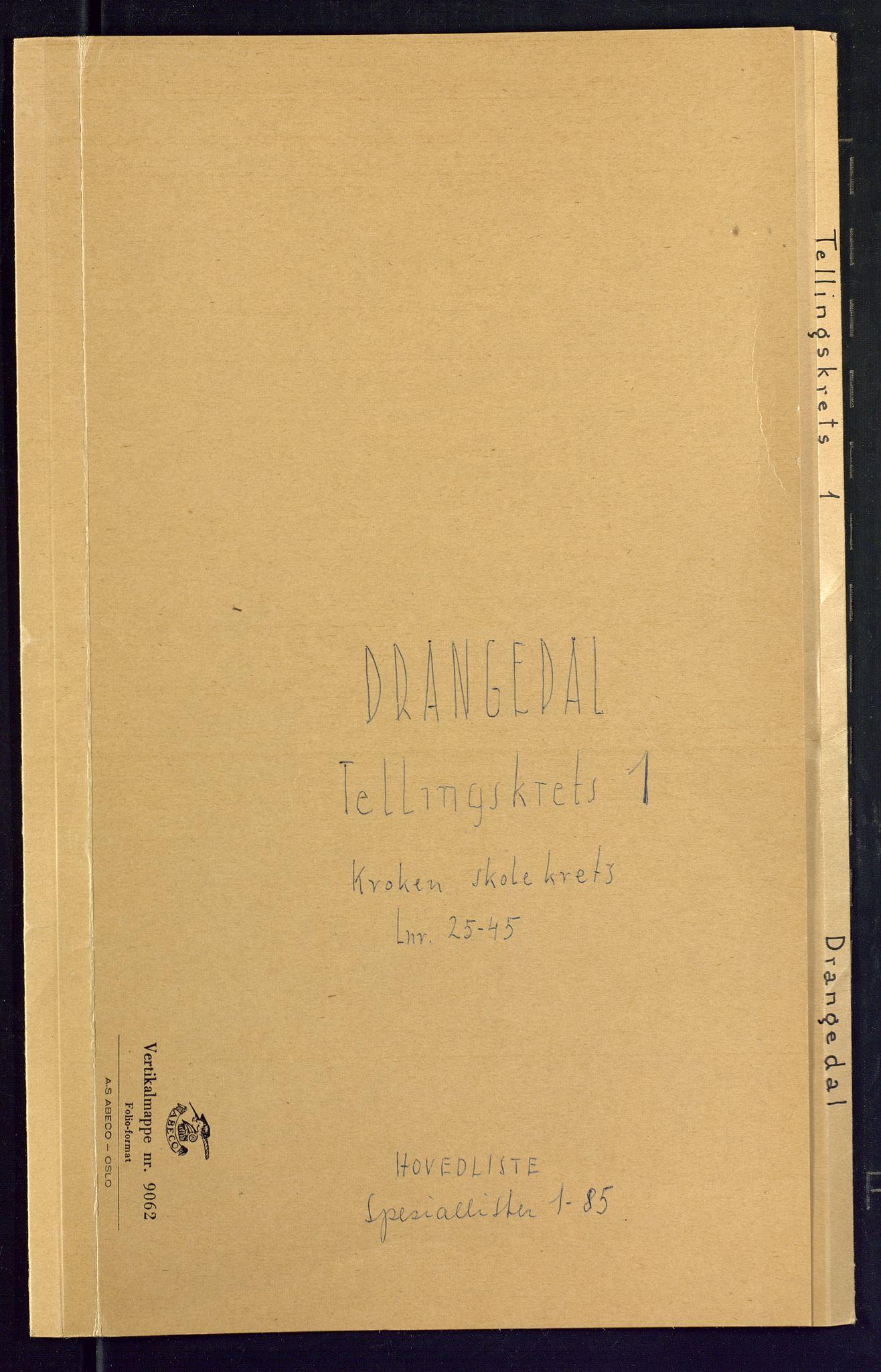 SAKO, Folketelling 1875 for 0817P Drangedal prestegjeld, 1875, s. 1
