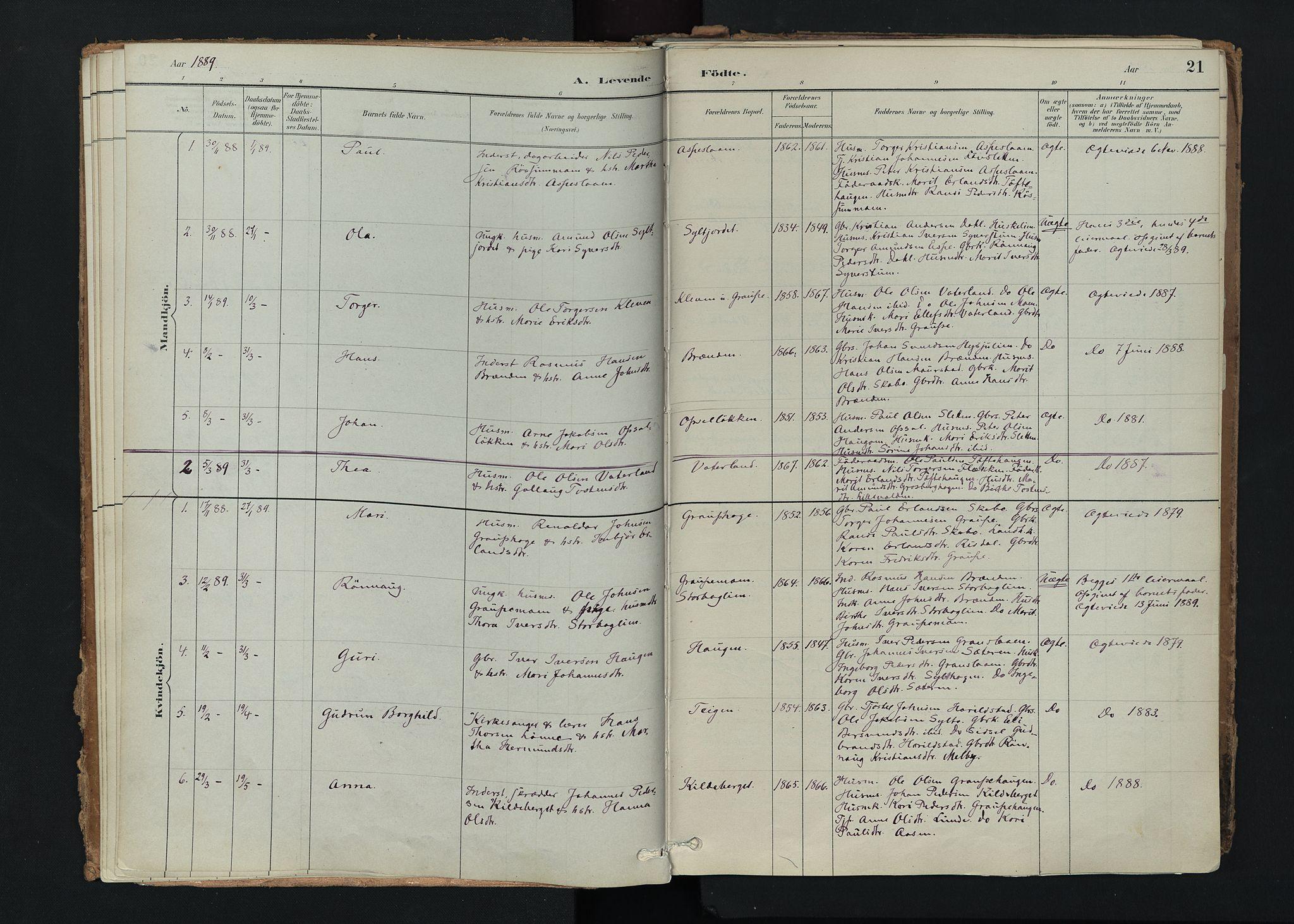 SAH, Nord-Fron prestekontor, Ministerialbok nr. 5, 1884-1914, s. 21
