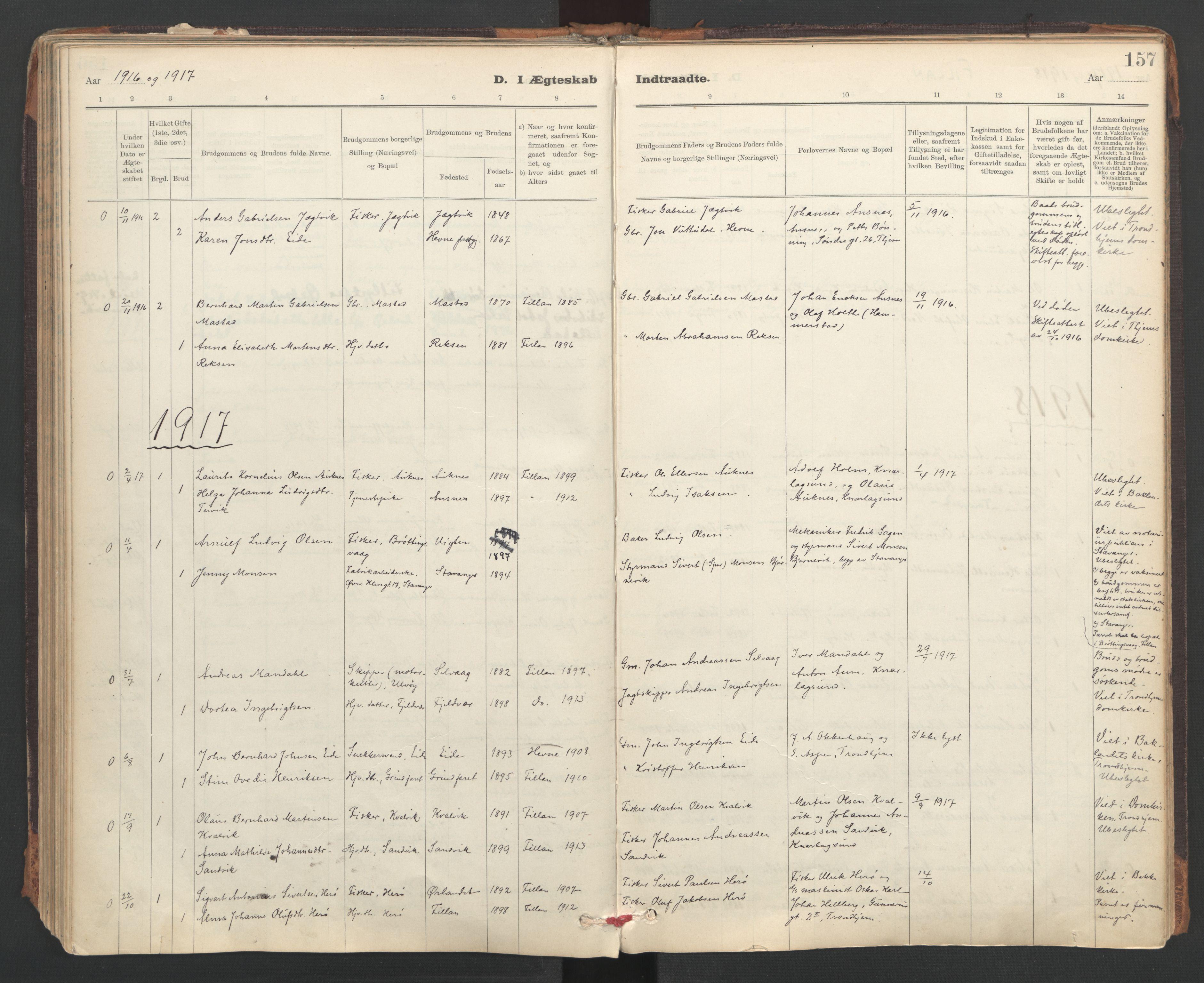 SAT, Ministerialprotokoller, klokkerbøker og fødselsregistre - Sør-Trøndelag, 637/L0559: Ministerialbok nr. 637A02, 1899-1923, s. 157