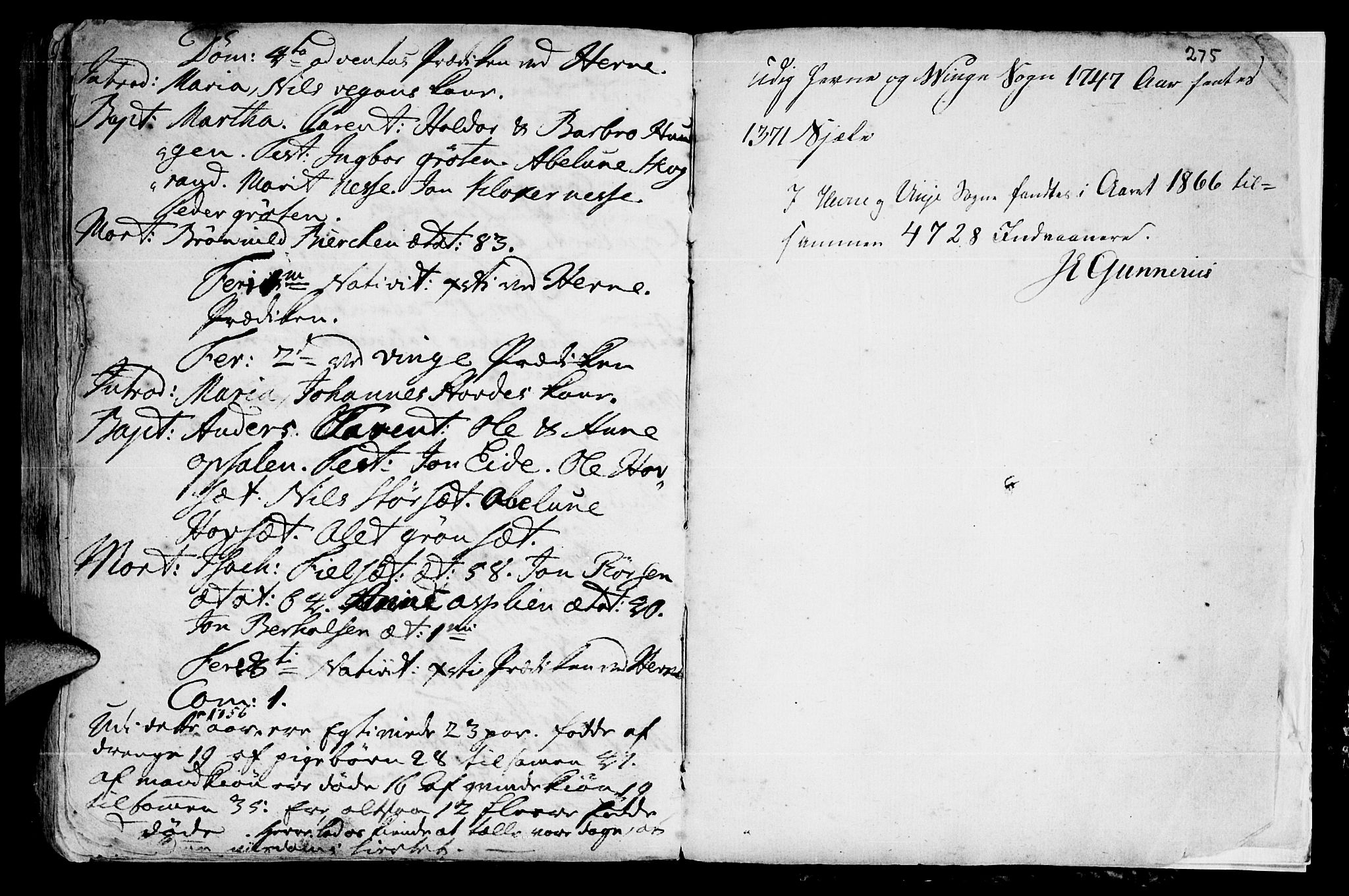 SAT, Ministerialprotokoller, klokkerbøker og fødselsregistre - Sør-Trøndelag, 630/L0488: Ministerialbok nr. 630A01, 1717-1756, s. 274-275