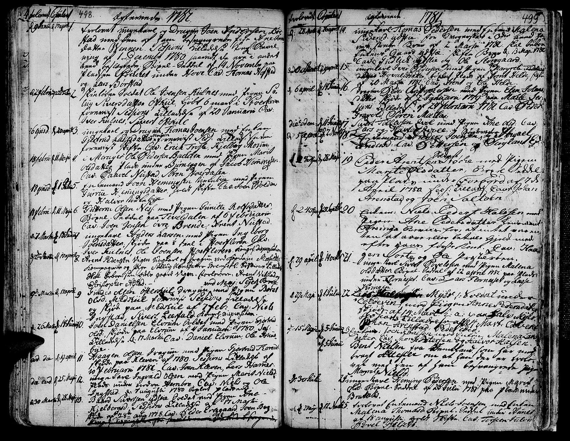 SAT, Ministerialprotokoller, klokkerbøker og fødselsregistre - Nord-Trøndelag, 709/L0059: Ministerialbok nr. 709A06, 1781-1797, s. 498-499