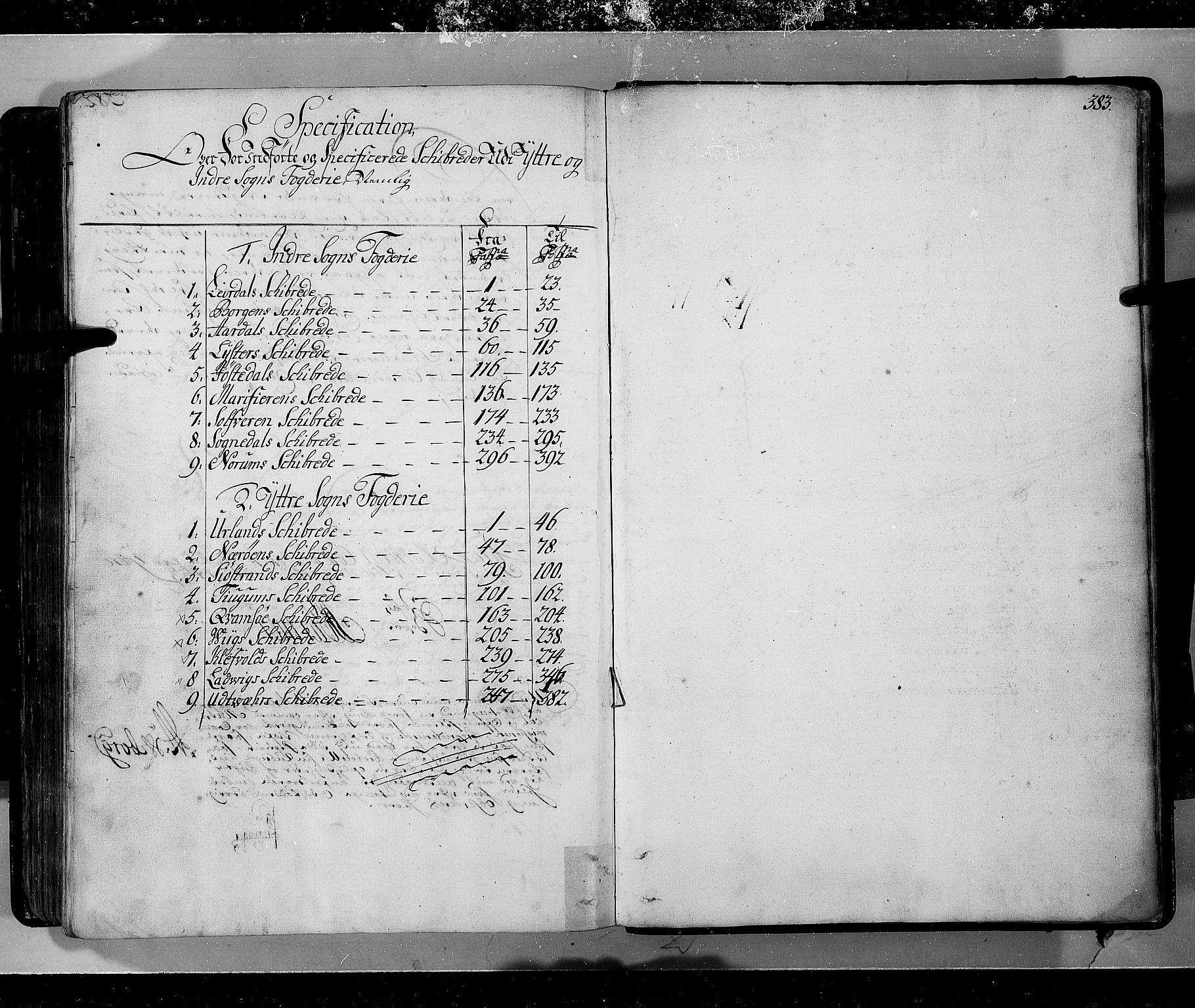 RA, Rentekammeret inntil 1814, Realistisk ordnet avdeling, N/Nb/Nbf/L0143: Ytre og Indre Sogn eksaminasjonsprotokoll, 1723, s. 383