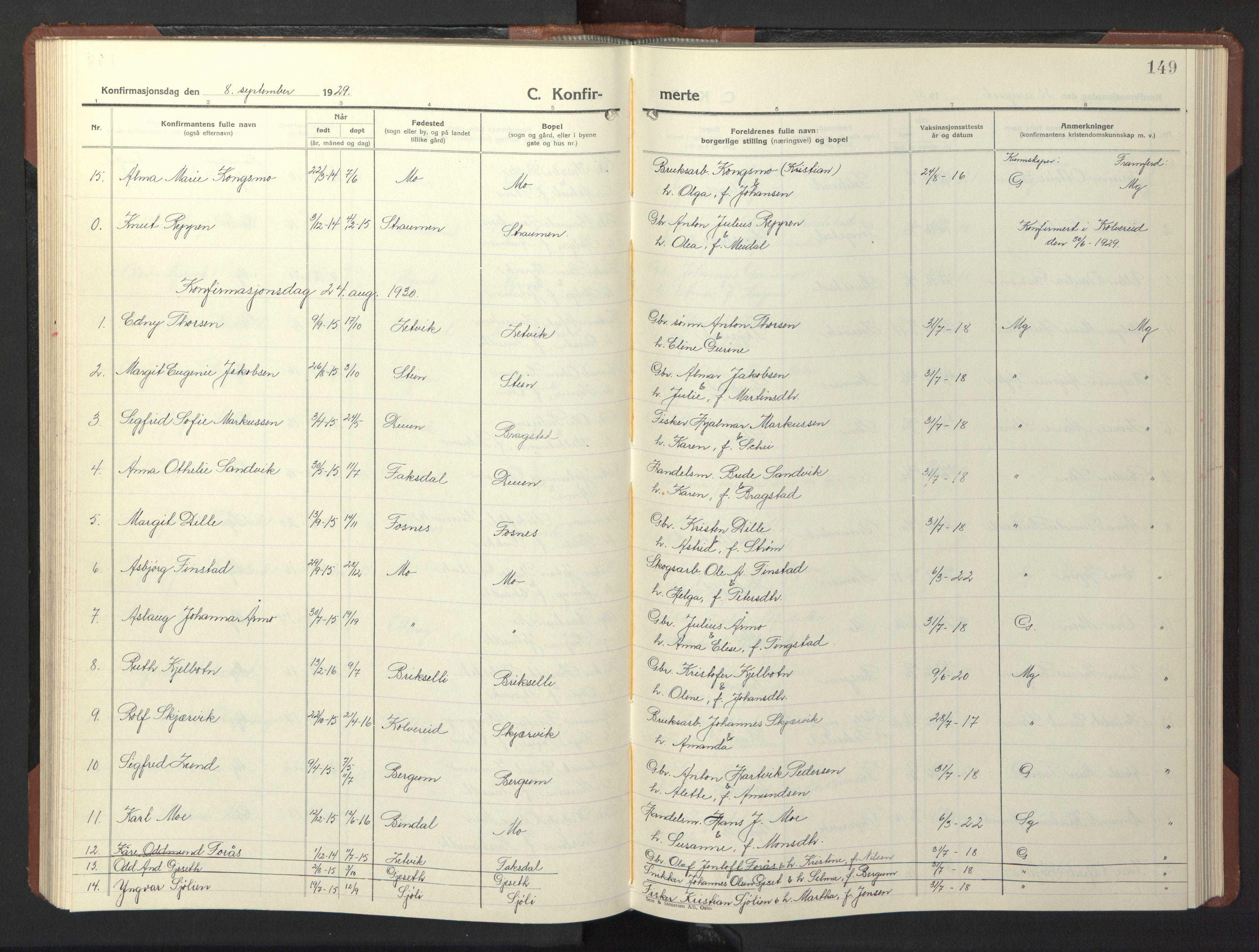 SAT, Ministerialprotokoller, klokkerbøker og fødselsregistre - Nord-Trøndelag, 773/L0625: Klokkerbok nr. 773C01, 1910-1952, s. 149
