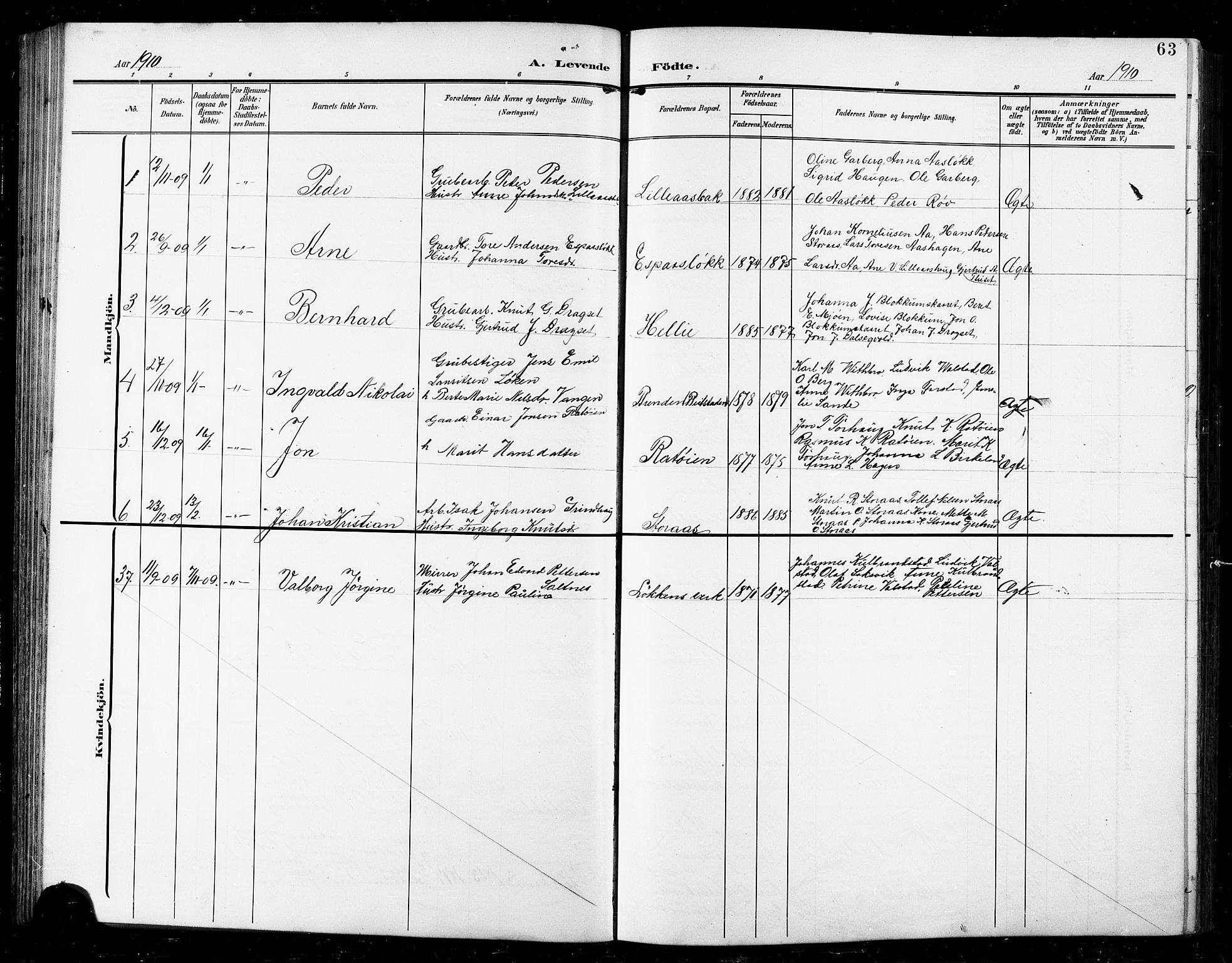 SAT, Ministerialprotokoller, klokkerbøker og fødselsregistre - Sør-Trøndelag, 672/L0864: Klokkerbok nr. 672C03, 1902-1914, s. 63