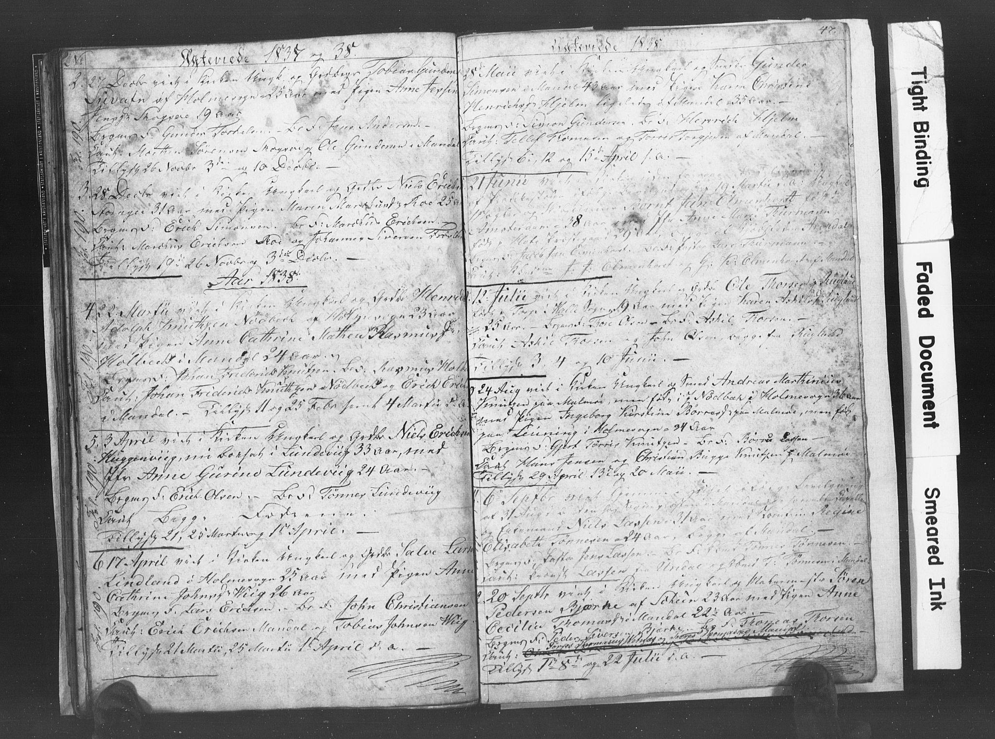 SAK, Mandal sokneprestkontor, F/Fb/Fba/L0003: Klokkerbok nr. B 1C, 1834-1838, s. 47
