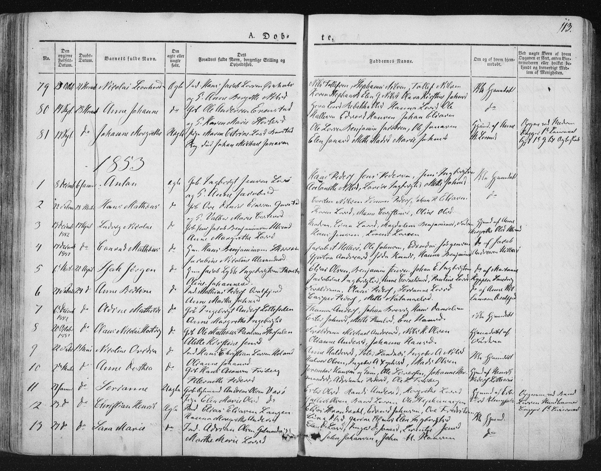 SAT, Ministerialprotokoller, klokkerbøker og fødselsregistre - Nord-Trøndelag, 784/L0669: Ministerialbok nr. 784A04, 1829-1859, s. 113