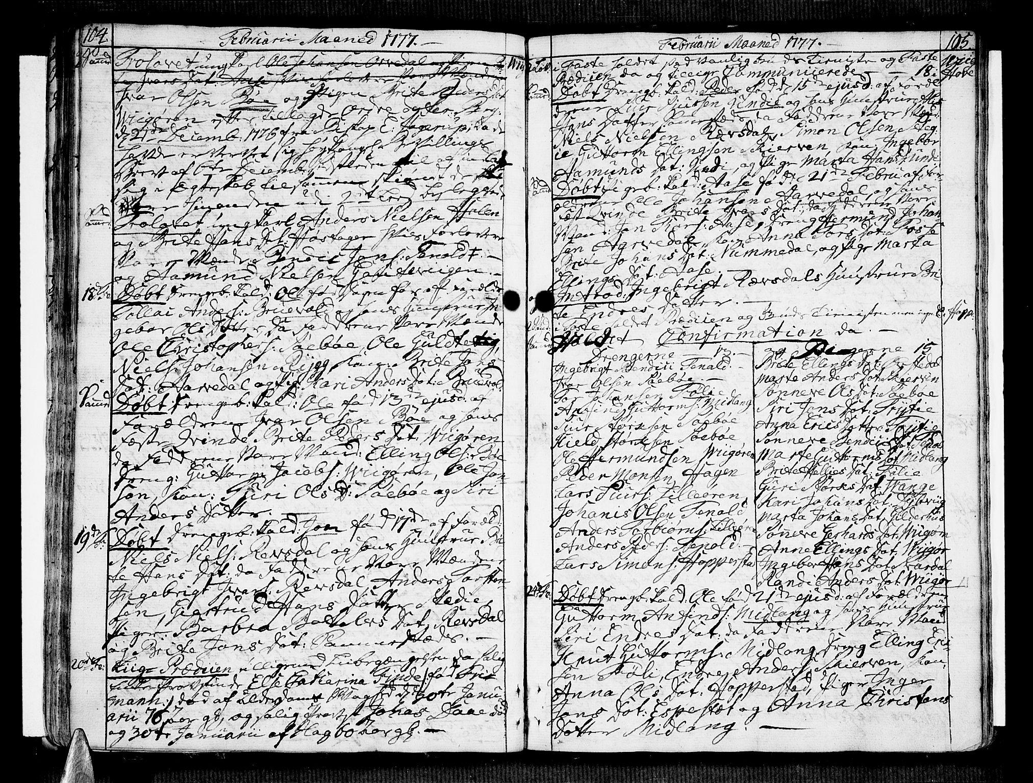 SAB, Vik Sokneprestembete, Ministerialbok nr. A 4, 1772-1783, s. 104-105