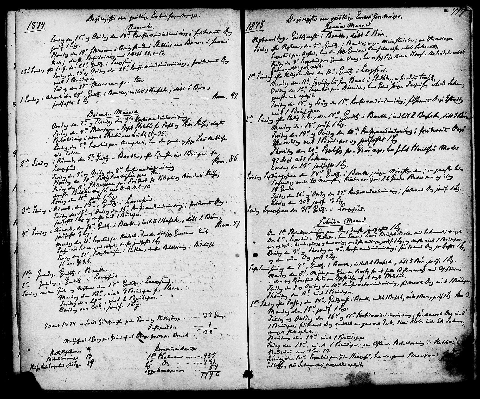 SAKO, Bamble kirkebøker, F/Fa/L0006: Ministerialbok nr. I 6, 1869-1877, s. 417