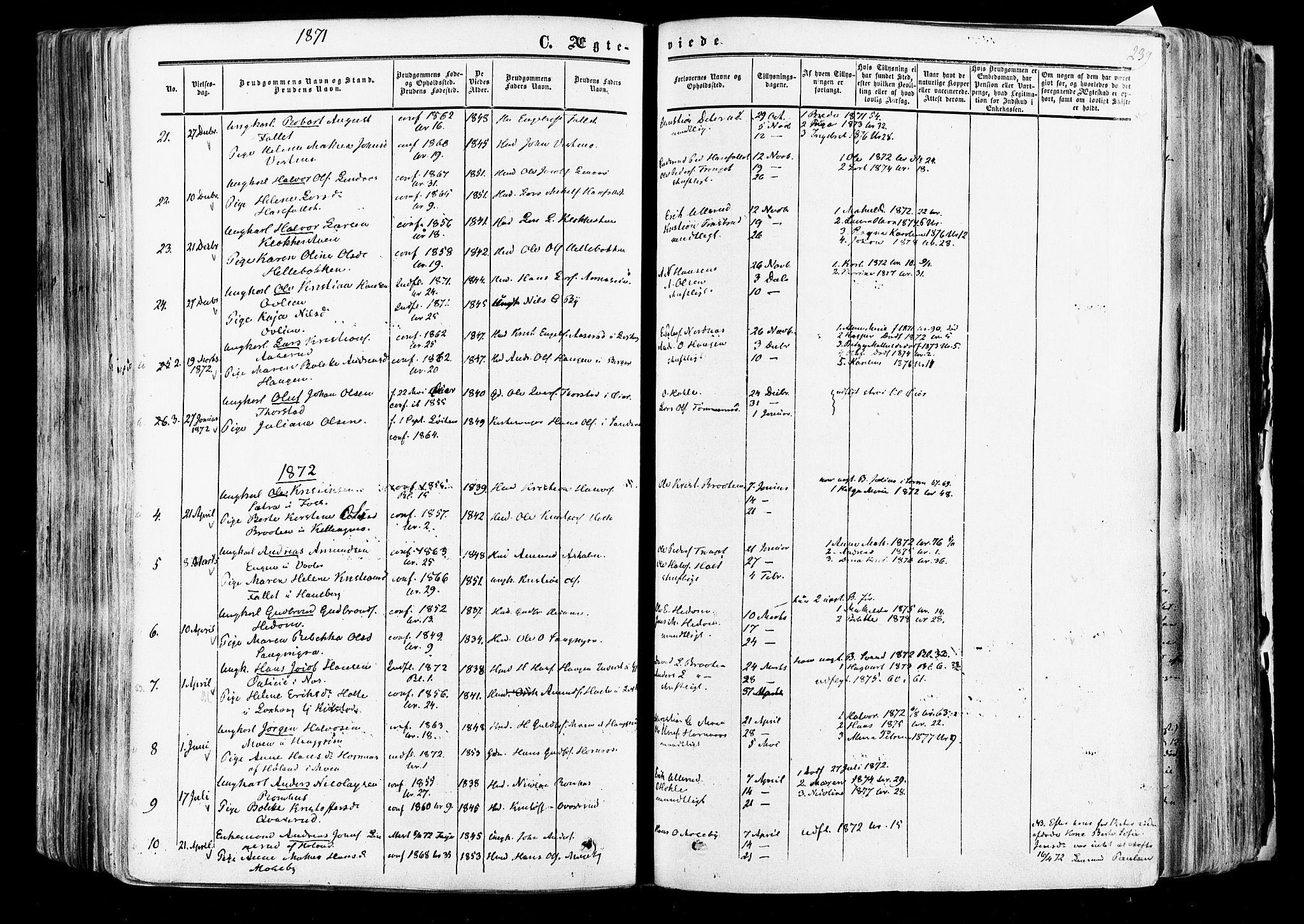 SAO, Aurskog prestekontor Kirkebøker, F/Fa/L0007: Ministerialbok nr. I 7, 1854-1877, s. 239