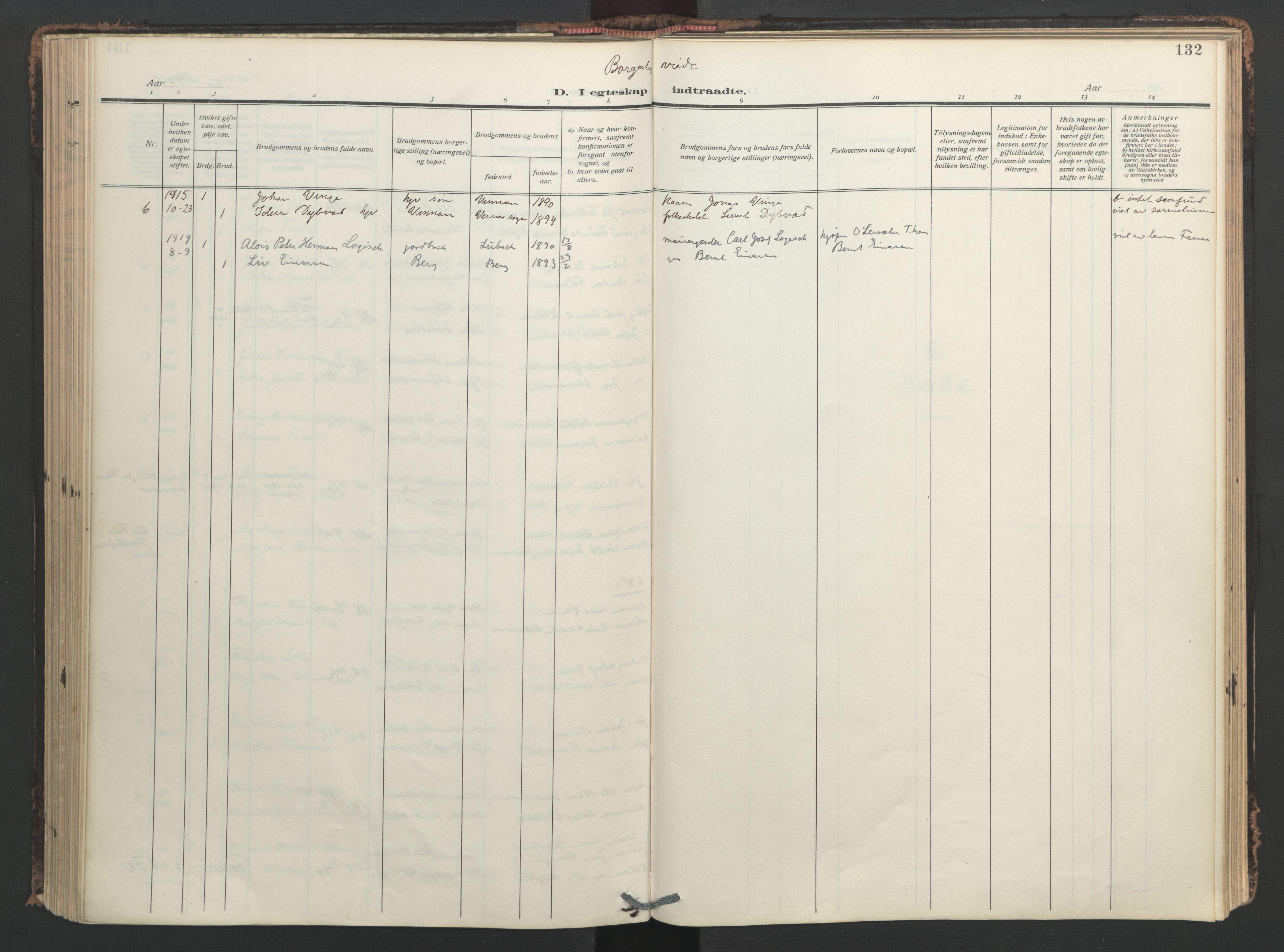 SAT, Ministerialprotokoller, klokkerbøker og fødselsregistre - Nord-Trøndelag, 713/L0123: Ministerialbok nr. 713A12, 1911-1925, s. 132