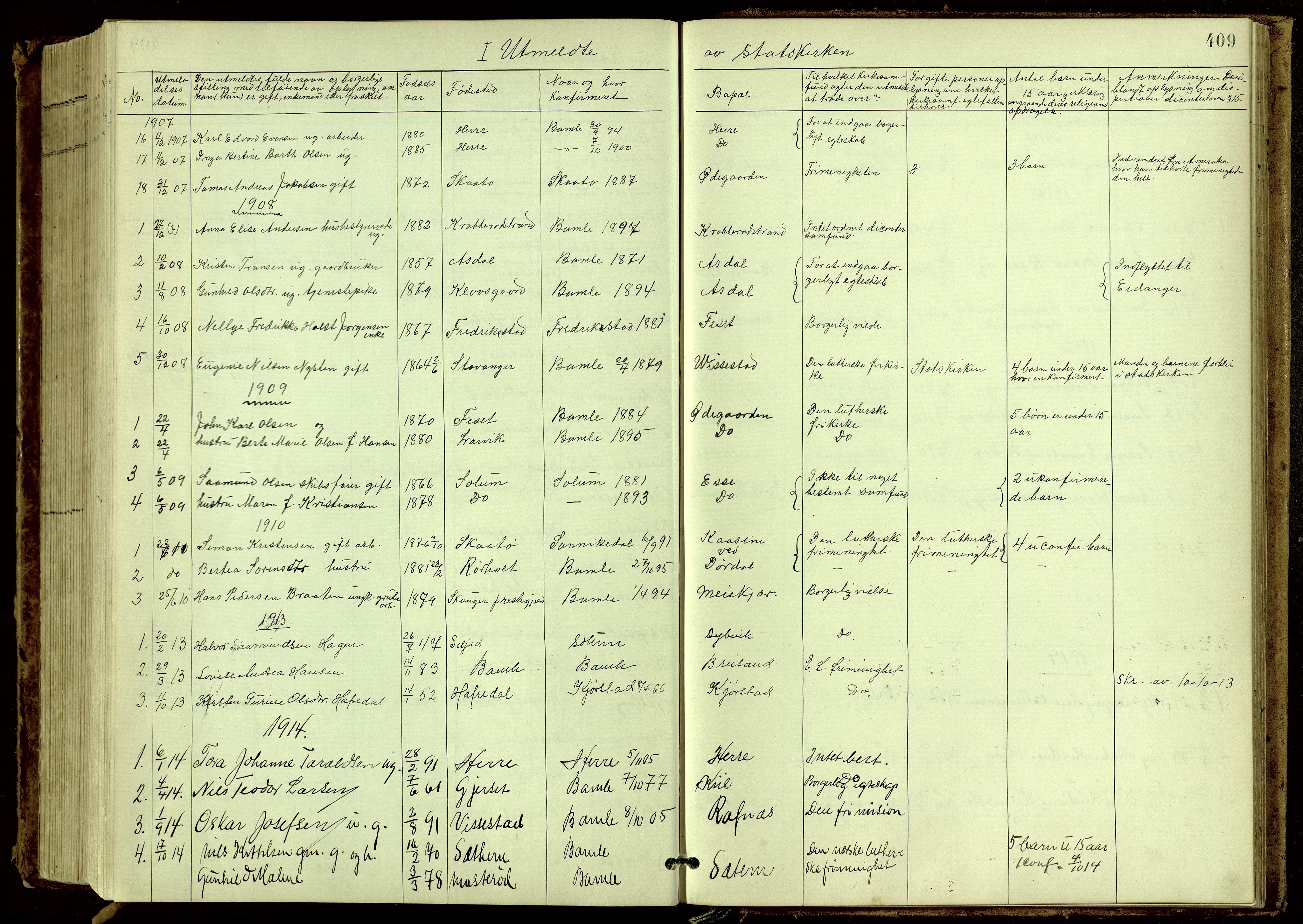 SAKO, Bamble kirkebøker, G/Ga/L0010: Klokkerbok nr. I 10, 1901-1919, s. 409