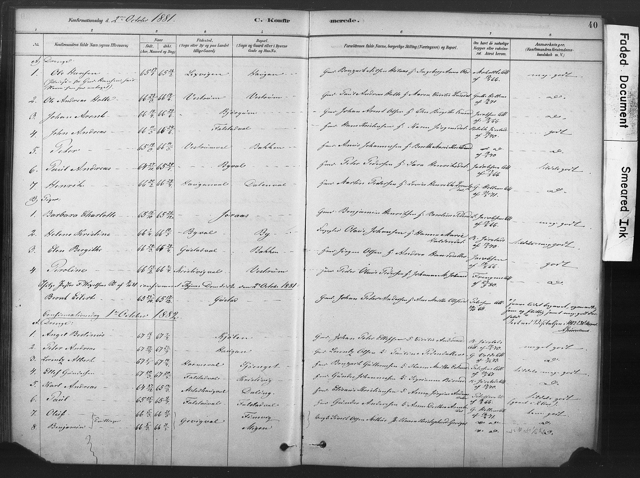 SAT, Ministerialprotokoller, klokkerbøker og fødselsregistre - Nord-Trøndelag, 719/L0178: Ministerialbok nr. 719A01, 1878-1900, s. 40