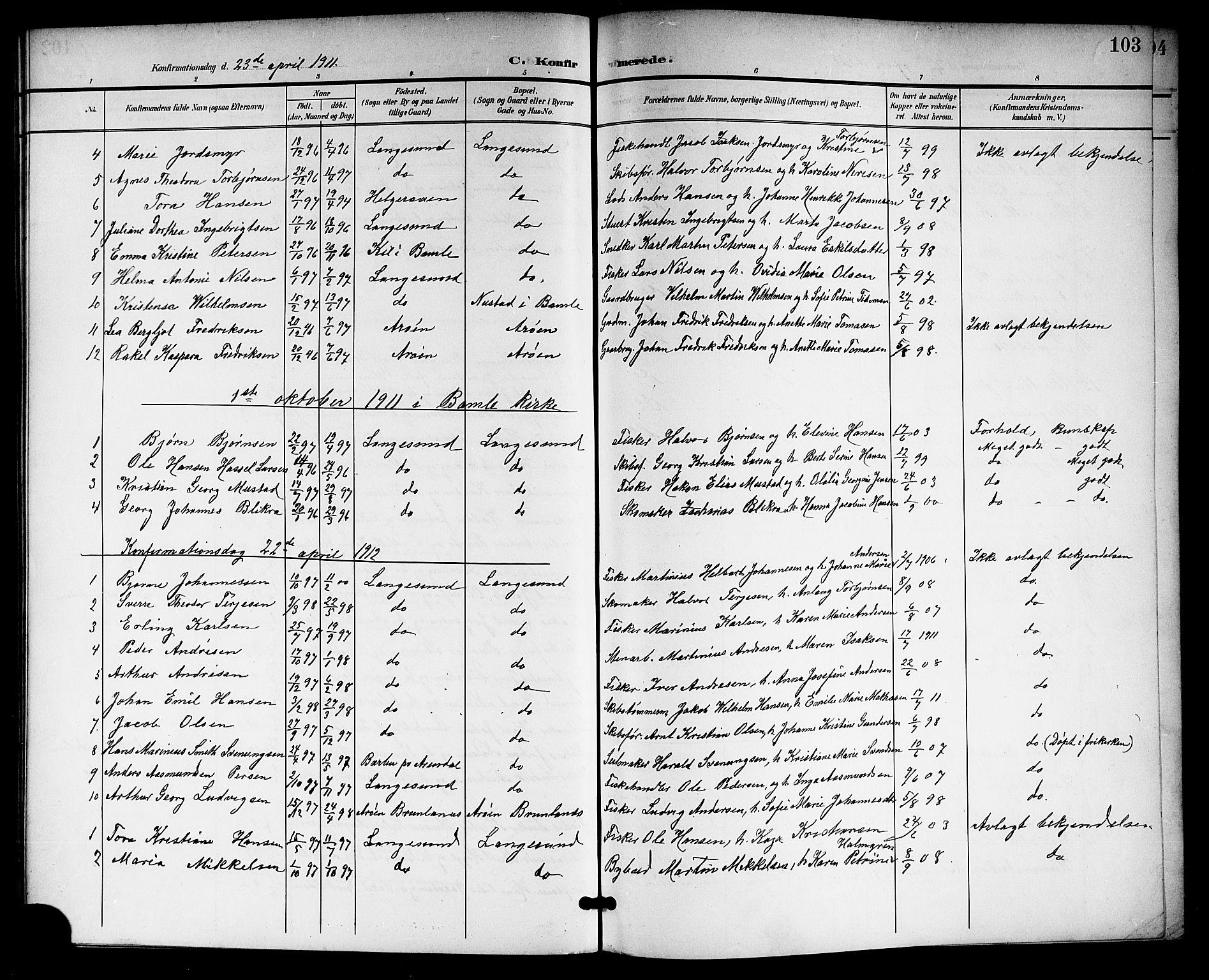 SAKO, Langesund kirkebøker, G/Ga/L0006: Klokkerbok nr. 6, 1899-1918, s. 103