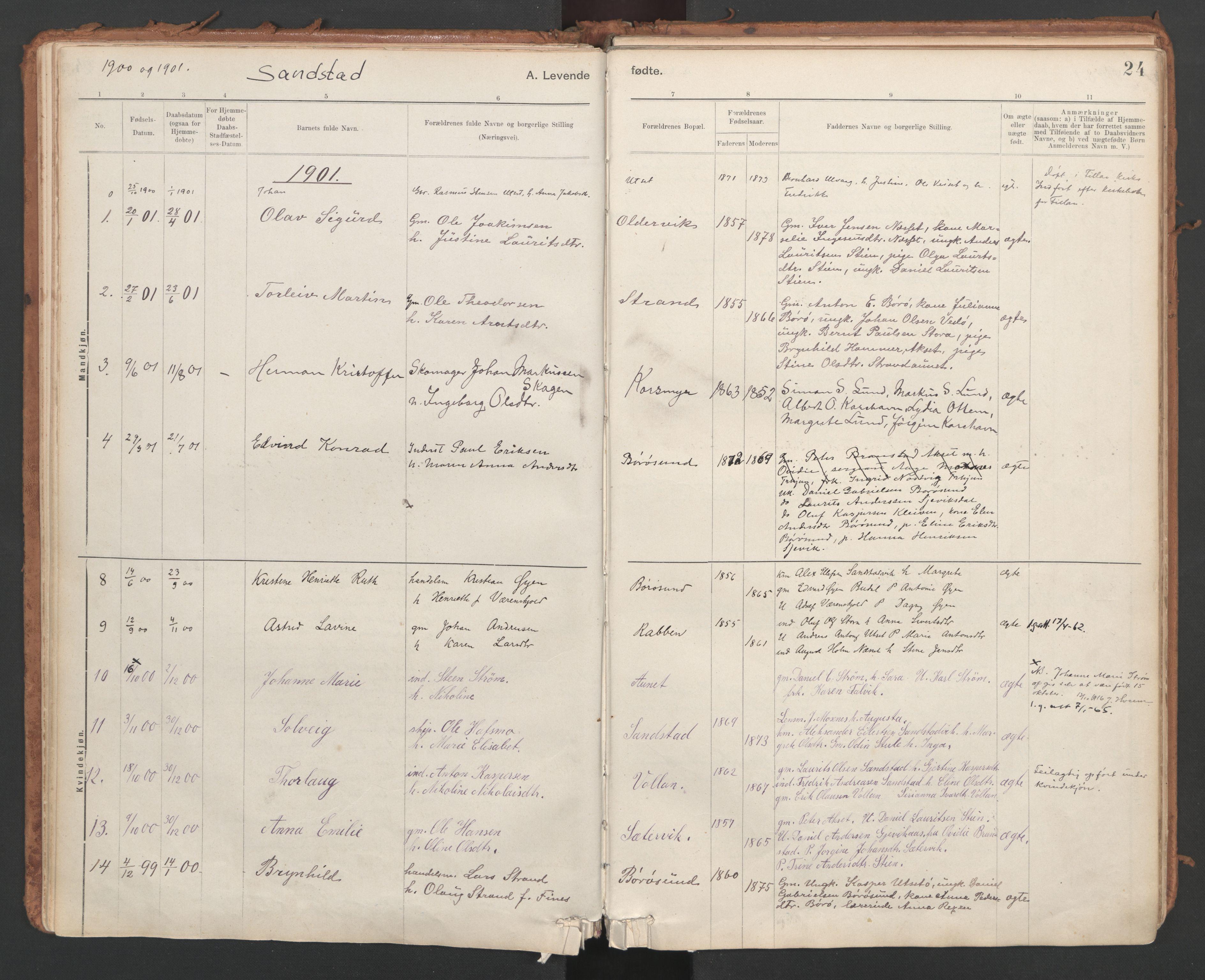 SAT, Ministerialprotokoller, klokkerbøker og fødselsregistre - Sør-Trøndelag, 639/L0572: Ministerialbok nr. 639A01, 1890-1920, s. 24