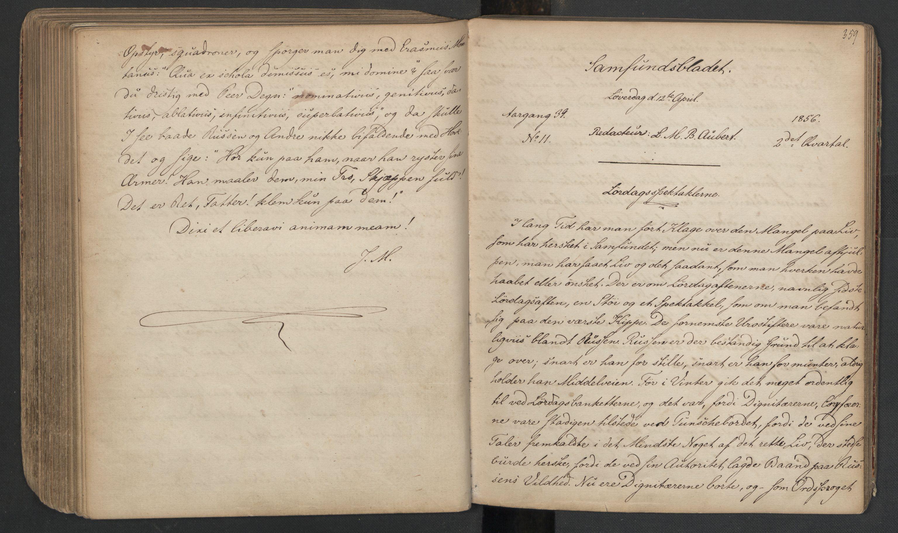 RA, Det Norske Studentersamfund, X/Xa/L0005, 1855-1856, s. 182