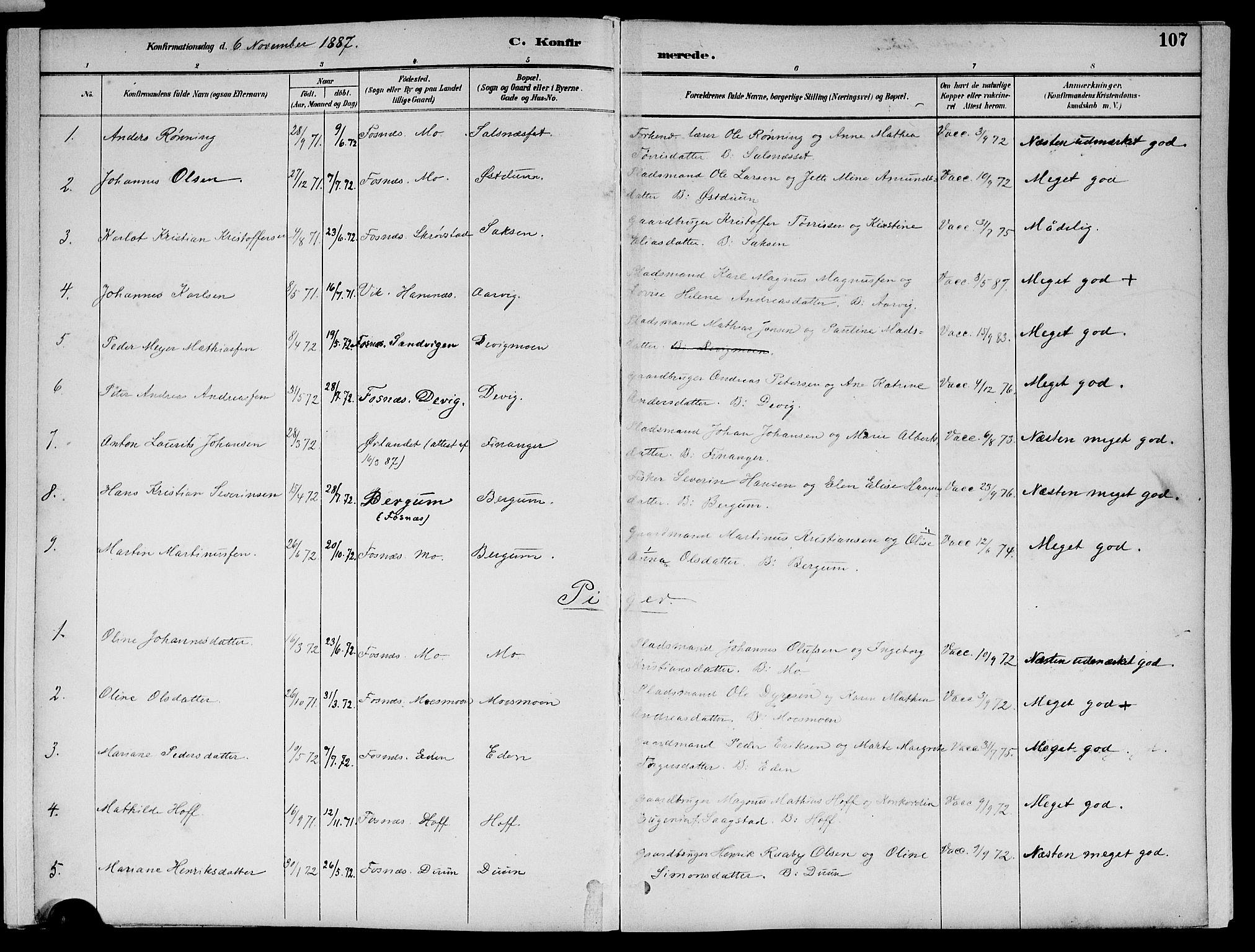 SAT, Ministerialprotokoller, klokkerbøker og fødselsregistre - Nord-Trøndelag, 773/L0617: Ministerialbok nr. 773A08, 1887-1910, s. 107