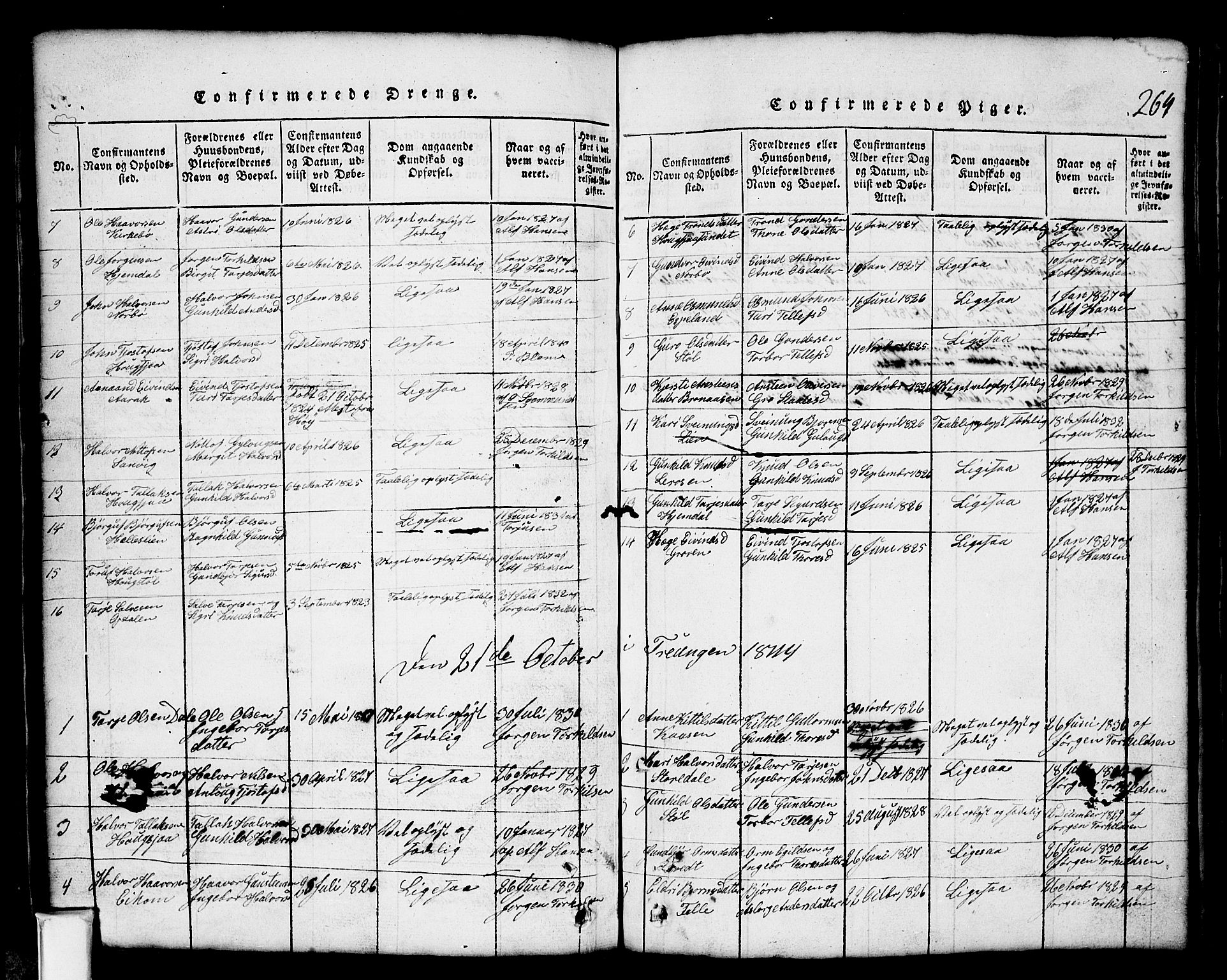 SAKO, Nissedal kirkebøker, G/Gb/L0001: Klokkerbok nr. II 1, 1814-1862, s. 264
