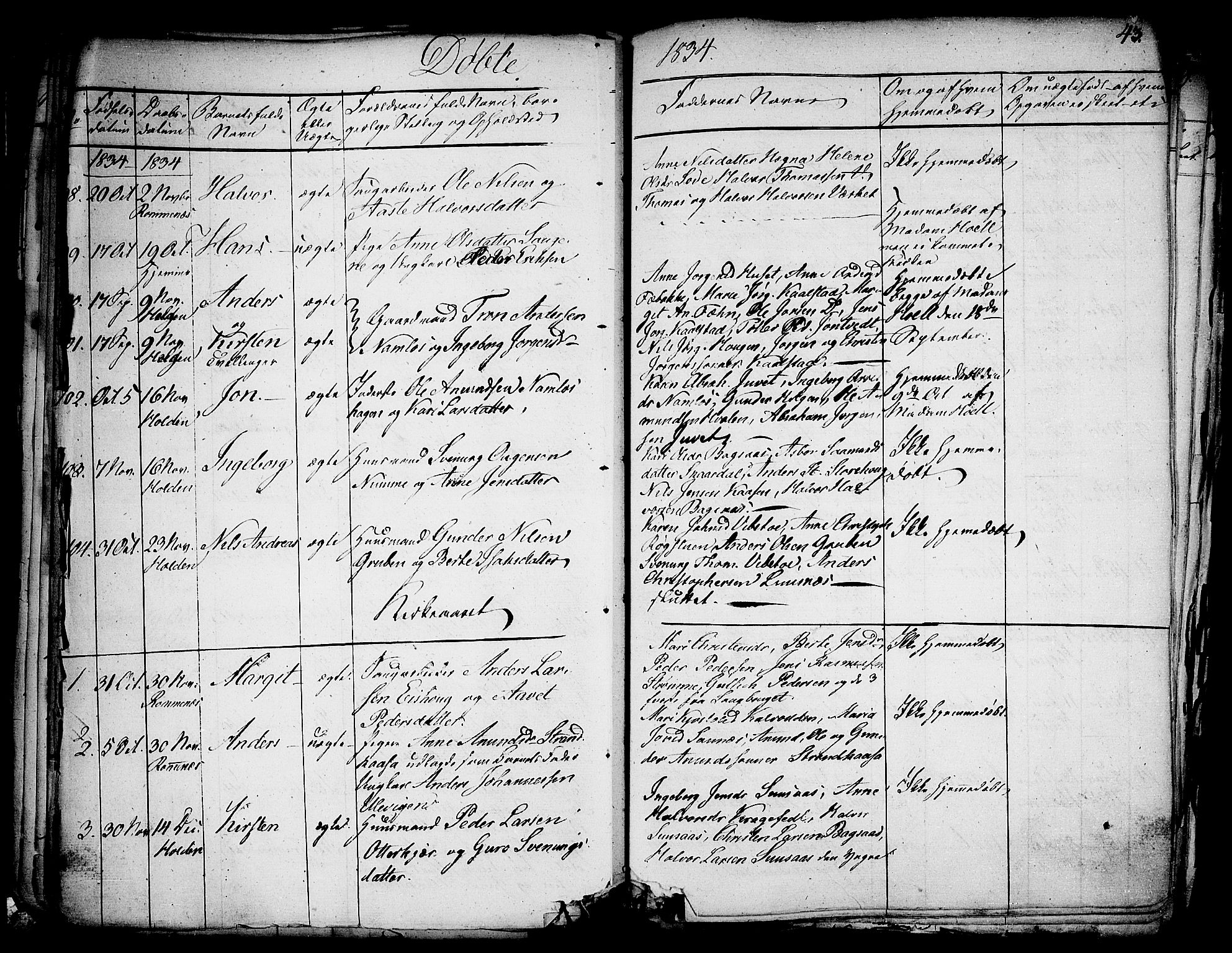 SAKO, Holla kirkebøker, F/Fa/L0004: Ministerialbok nr. 4, 1830-1848, s. 43