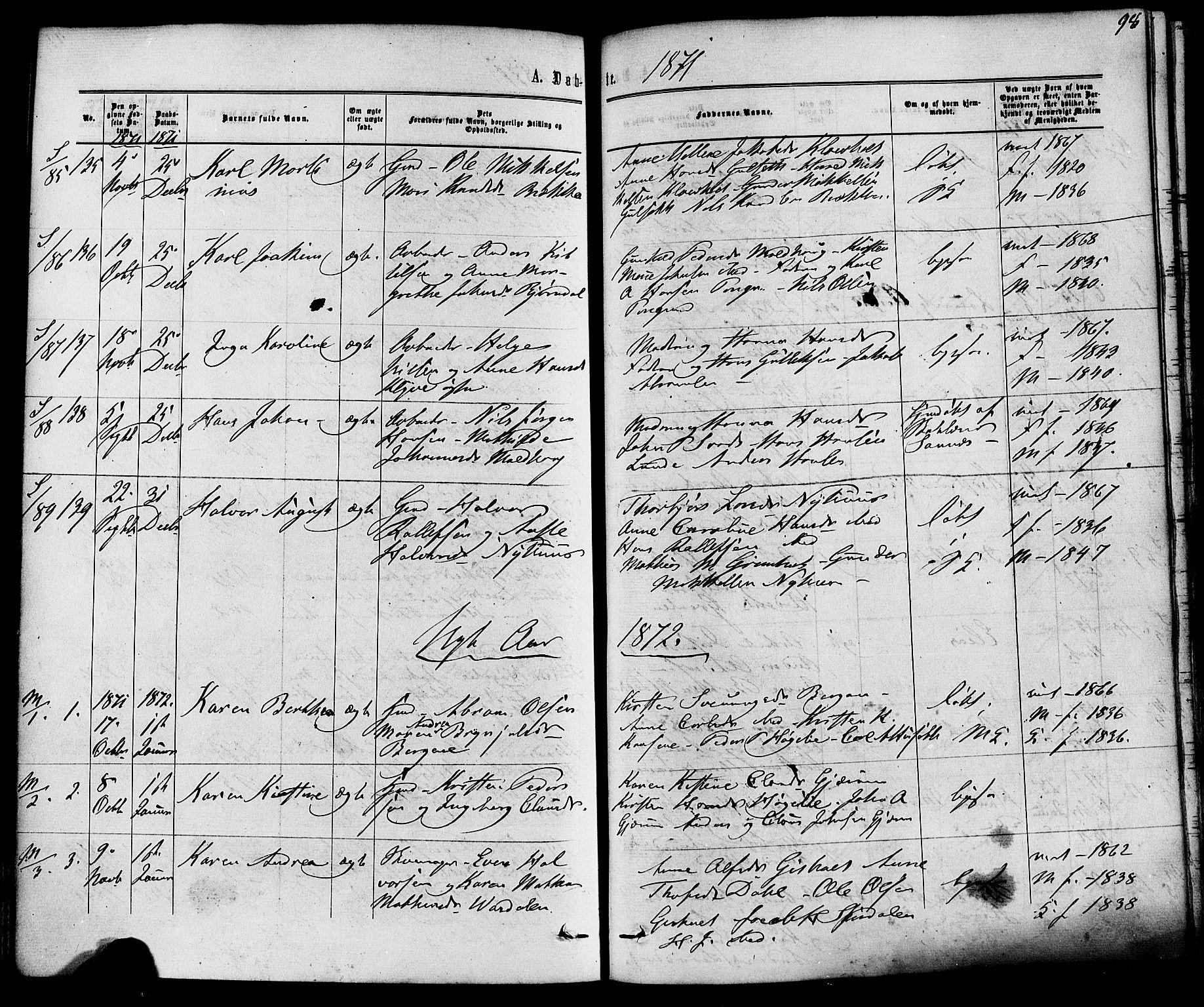 SAKO, Solum kirkebøker, F/Fa/L0008: Ministerialbok nr. I 8, 1865-1876, s. 98