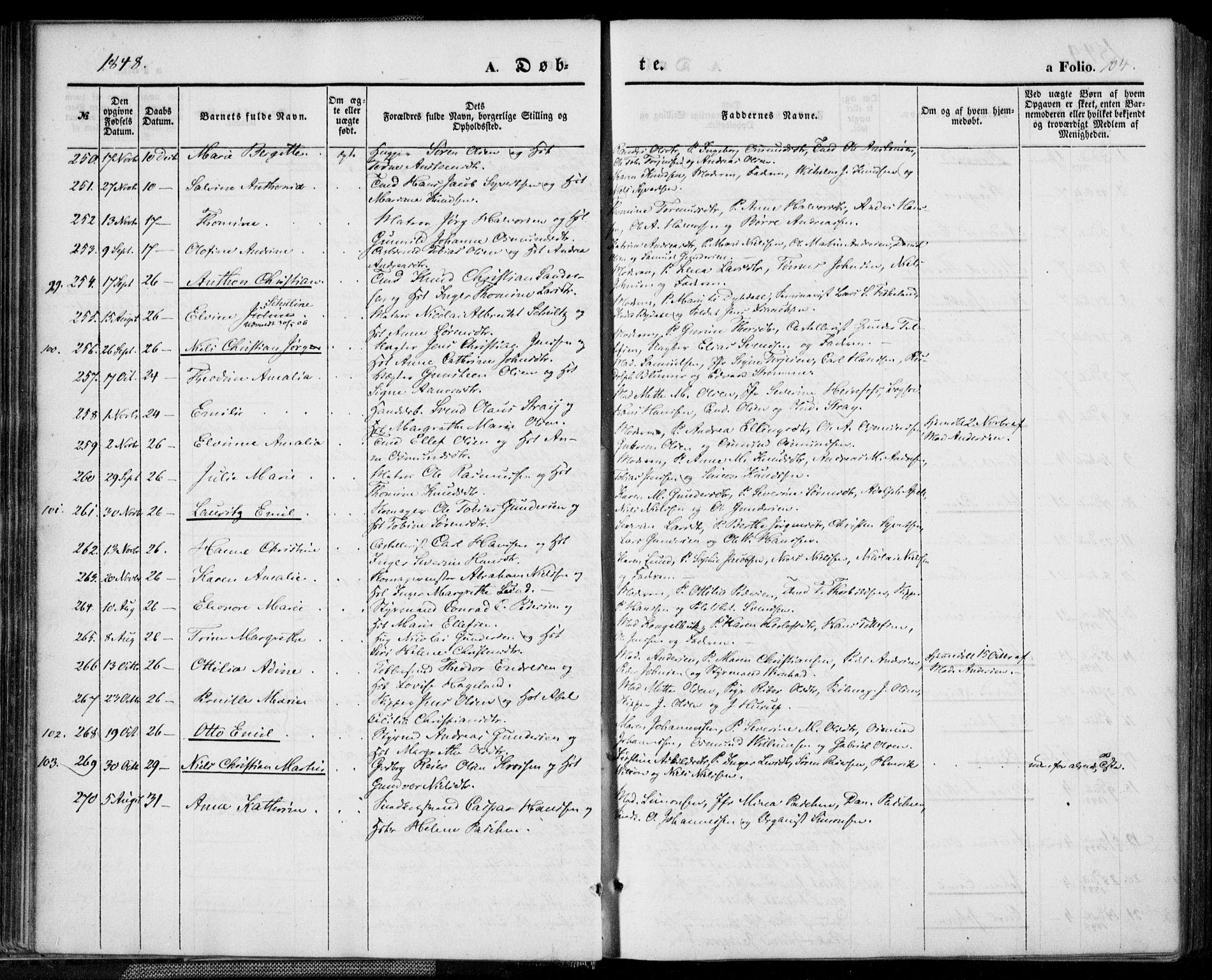 SAK, Kristiansand domprosti, F/Fa/L0013: Ministerialbok nr. A 13, 1842-1851, s. 104
