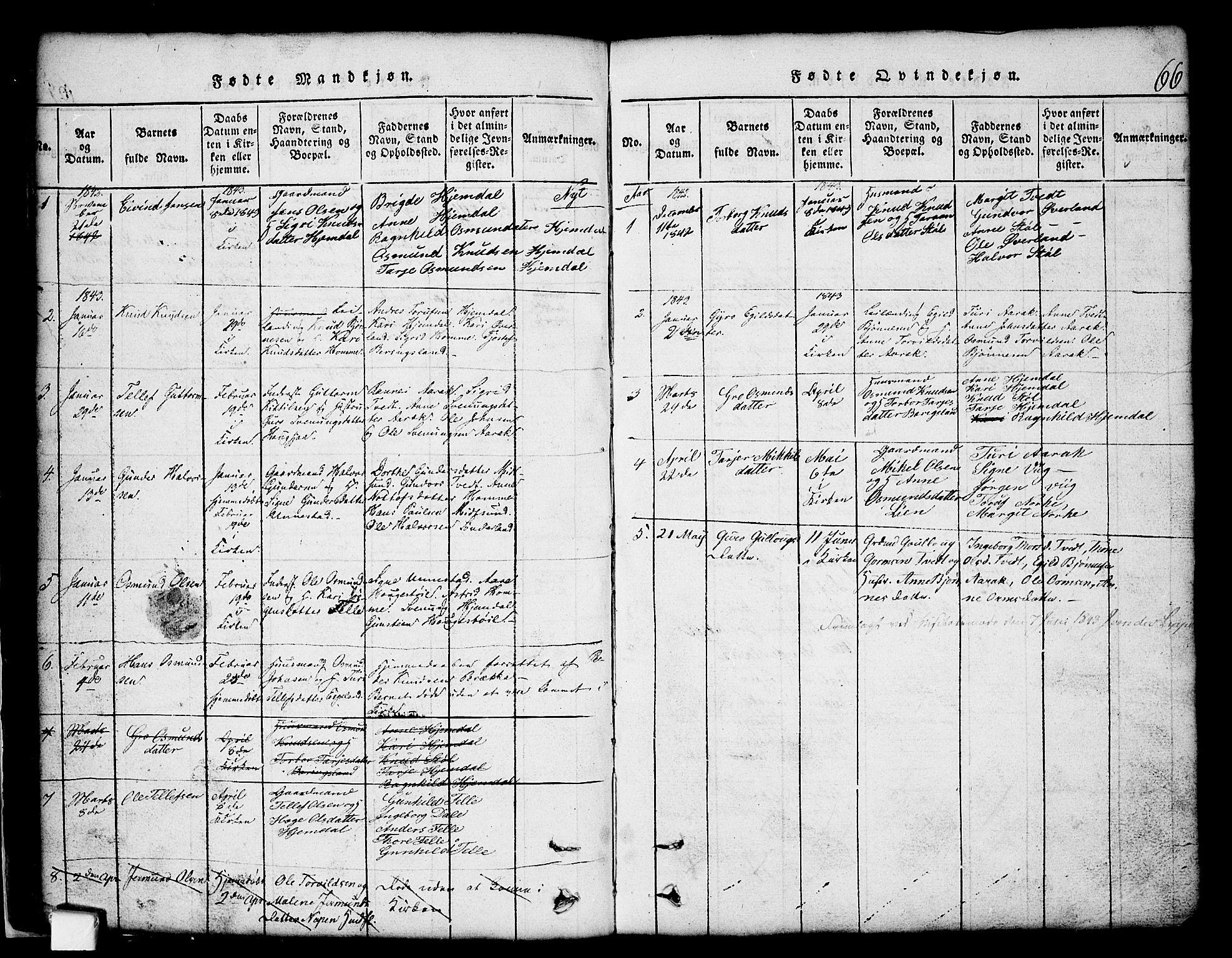 SAKO, Nissedal kirkebøker, G/Gb/L0001: Klokkerbok nr. II 1, 1814-1862, s. 66