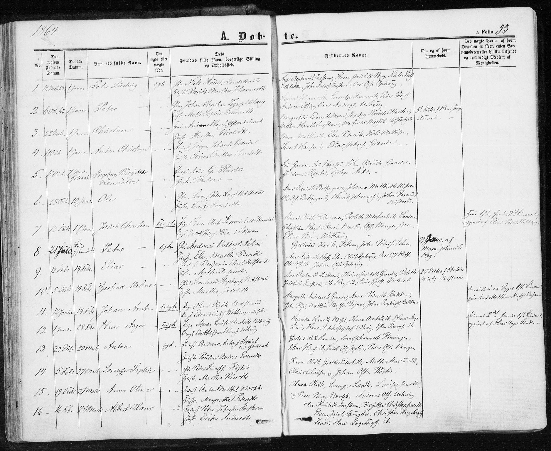 SAT, Ministerialprotokoller, klokkerbøker og fødselsregistre - Sør-Trøndelag, 659/L0737: Ministerialbok nr. 659A07, 1857-1875, s. 53