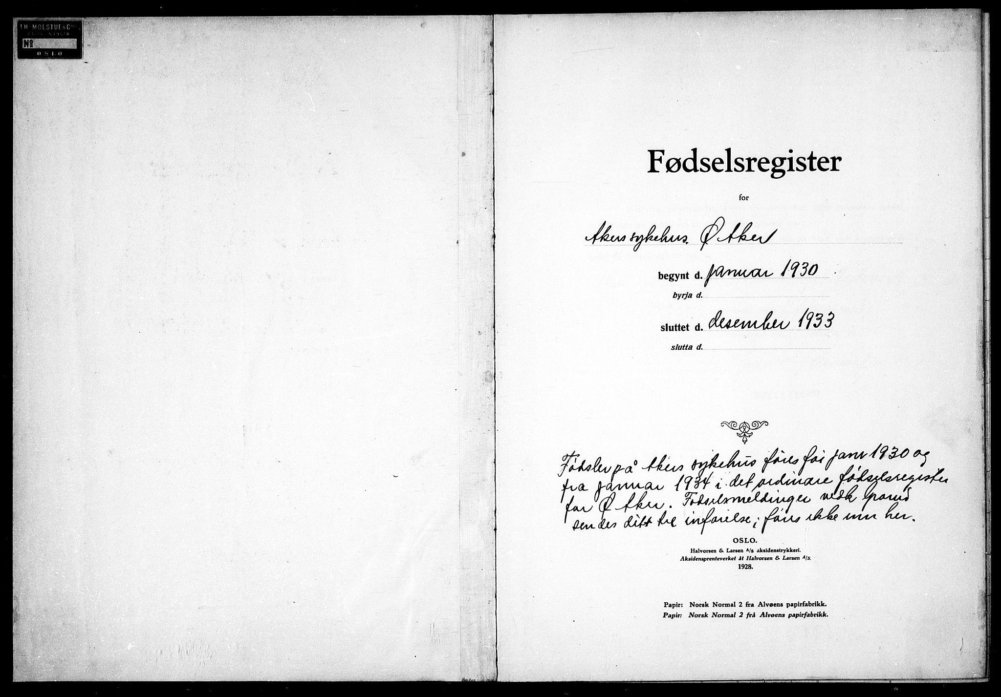 SAO, Østre Aker prestekontor Kirkebøker, J/Ja/L0004: Fødselsregister nr. I 4, 1930-1933
