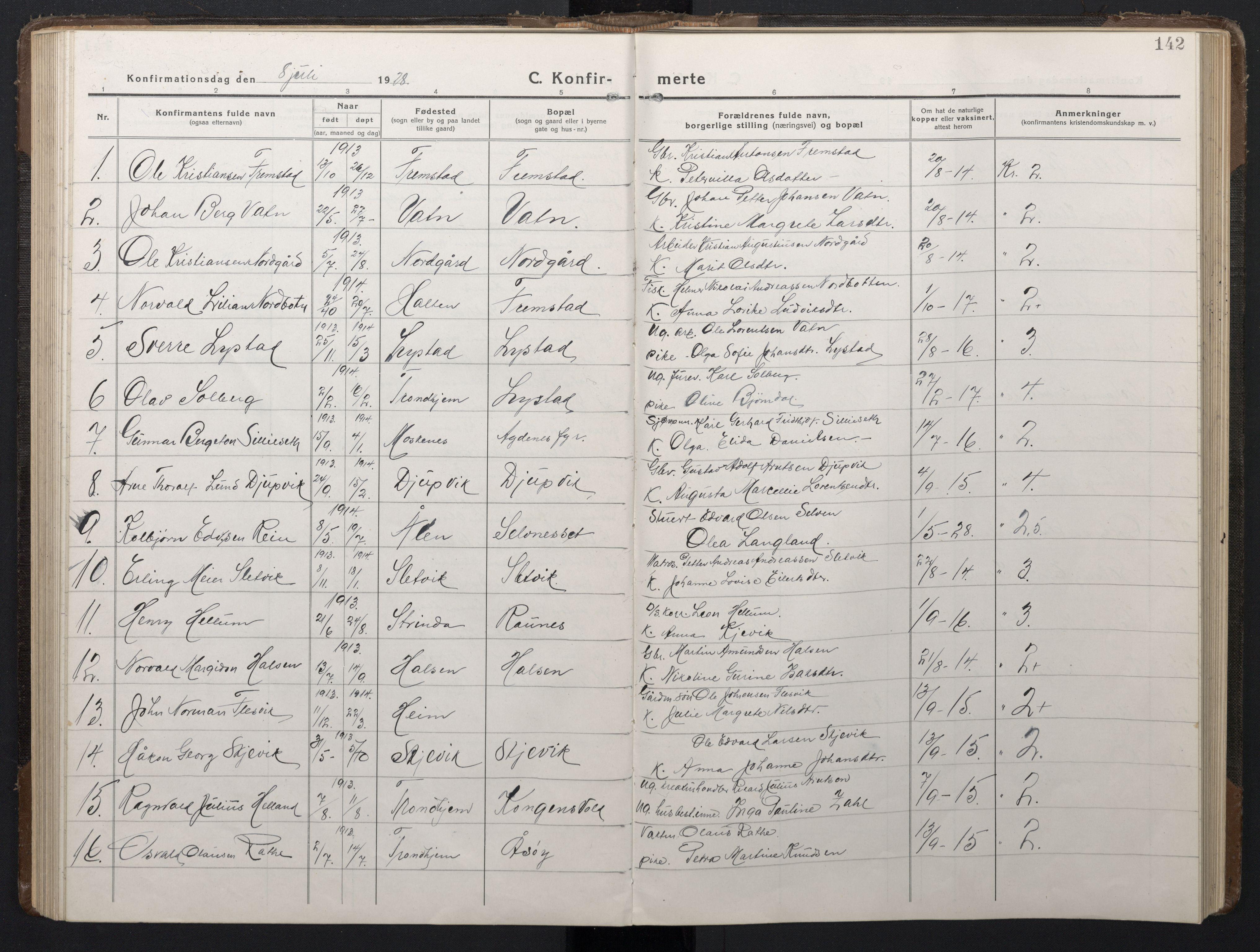 SAT, Ministerialprotokoller, klokkerbøker og fødselsregistre - Sør-Trøndelag, 662/L0758: Klokkerbok nr. 662C03, 1918-1948, s. 142