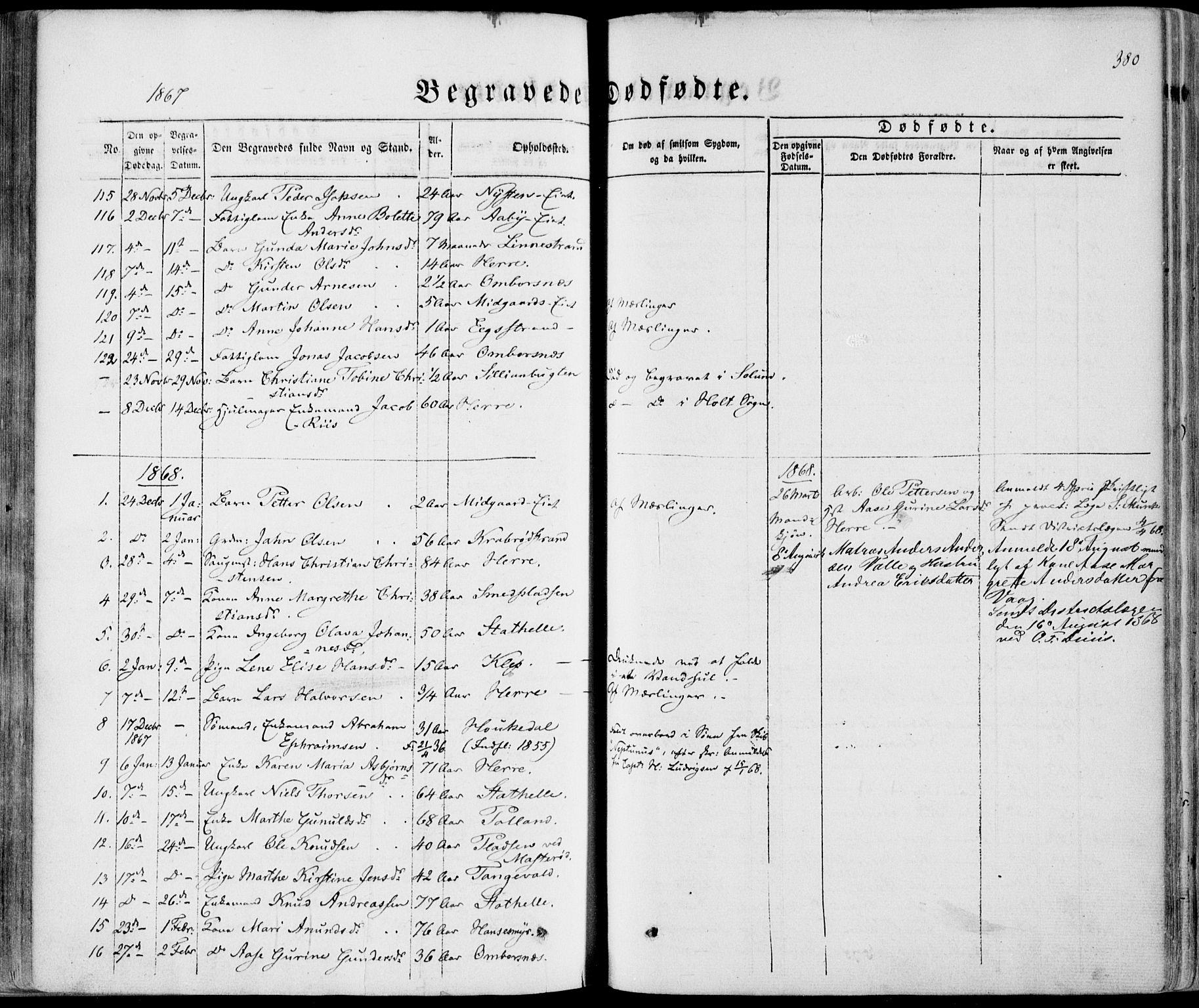 SAKO, Bamble kirkebøker, F/Fa/L0005: Ministerialbok nr. I 5, 1854-1869, s. 380