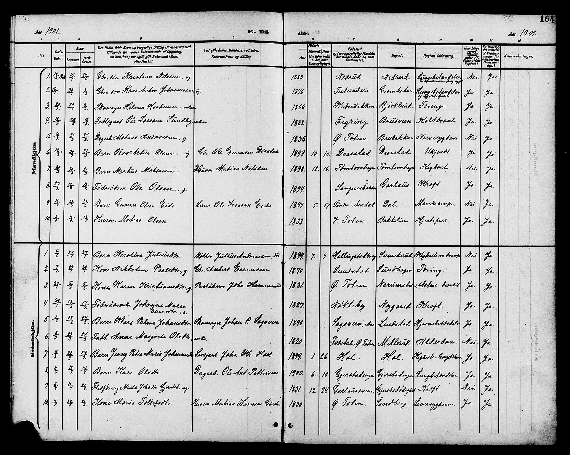 SAH, Vestre Toten prestekontor, H/Ha/Hab/L0011: Klokkerbok nr. 11, 1901-1911, s. 164