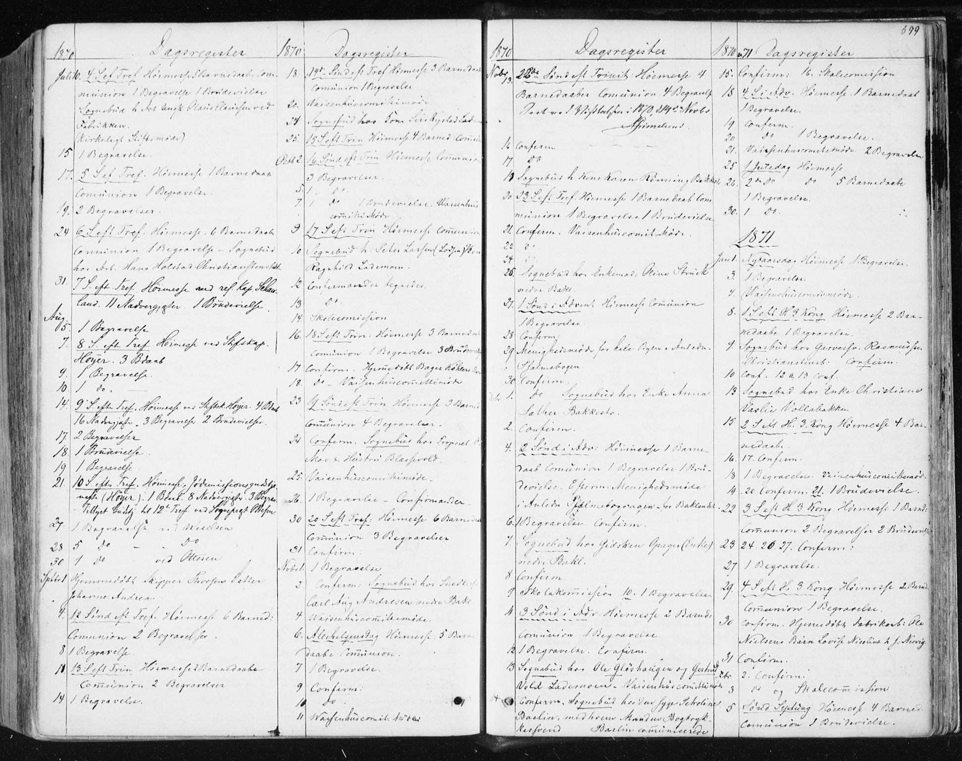 SAT, Ministerialprotokoller, klokkerbøker og fødselsregistre - Sør-Trøndelag, 604/L0186: Ministerialbok nr. 604A07, 1866-1877, s. 699