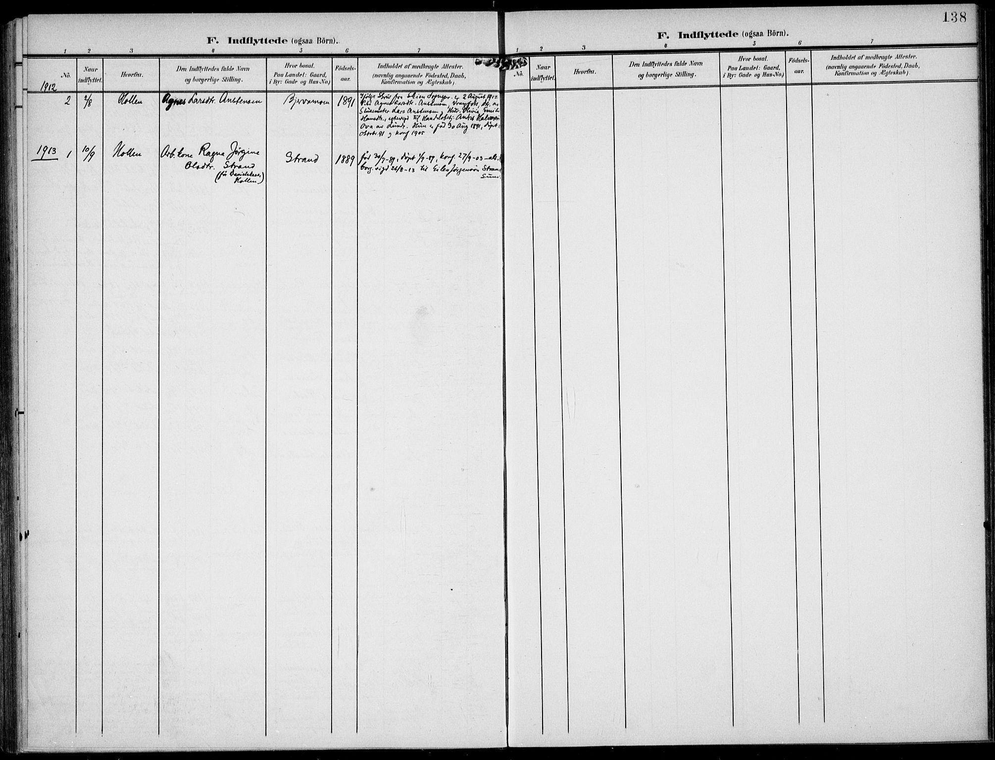 SAKO, Lunde kirkebøker, F/Fa/L0004: Ministerialbok nr. I 4, 1902-1913, s. 138
