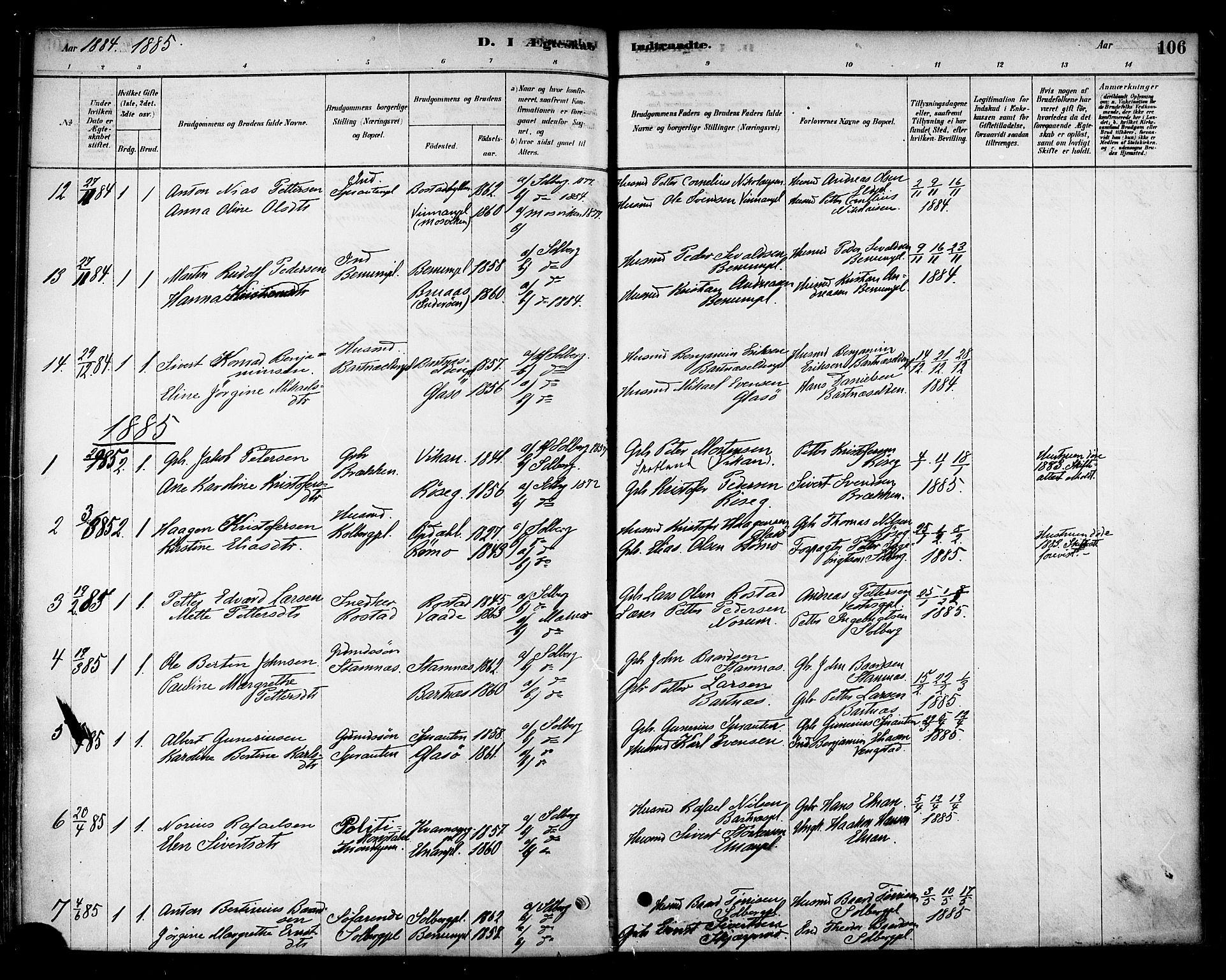 SAT, Ministerialprotokoller, klokkerbøker og fødselsregistre - Nord-Trøndelag, 741/L0395: Ministerialbok nr. 741A09, 1878-1888, s. 106