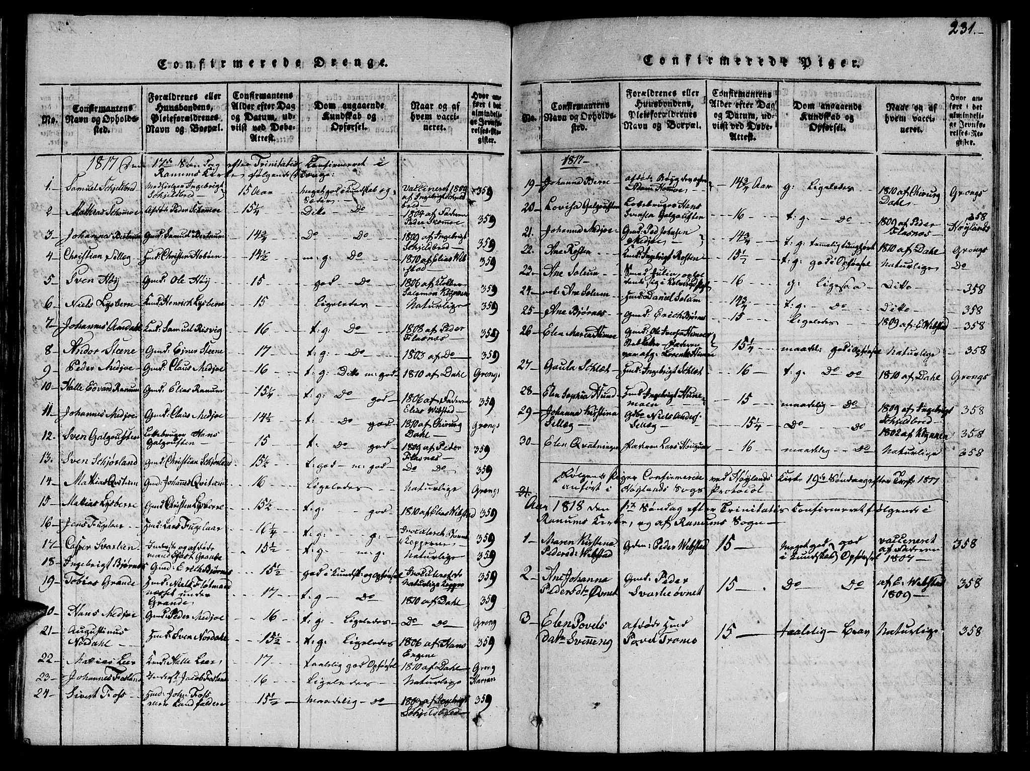SAT, Ministerialprotokoller, klokkerbøker og fødselsregistre - Nord-Trøndelag, 764/L0559: Klokkerbok nr. 764C01, 1816-1824, s. 231