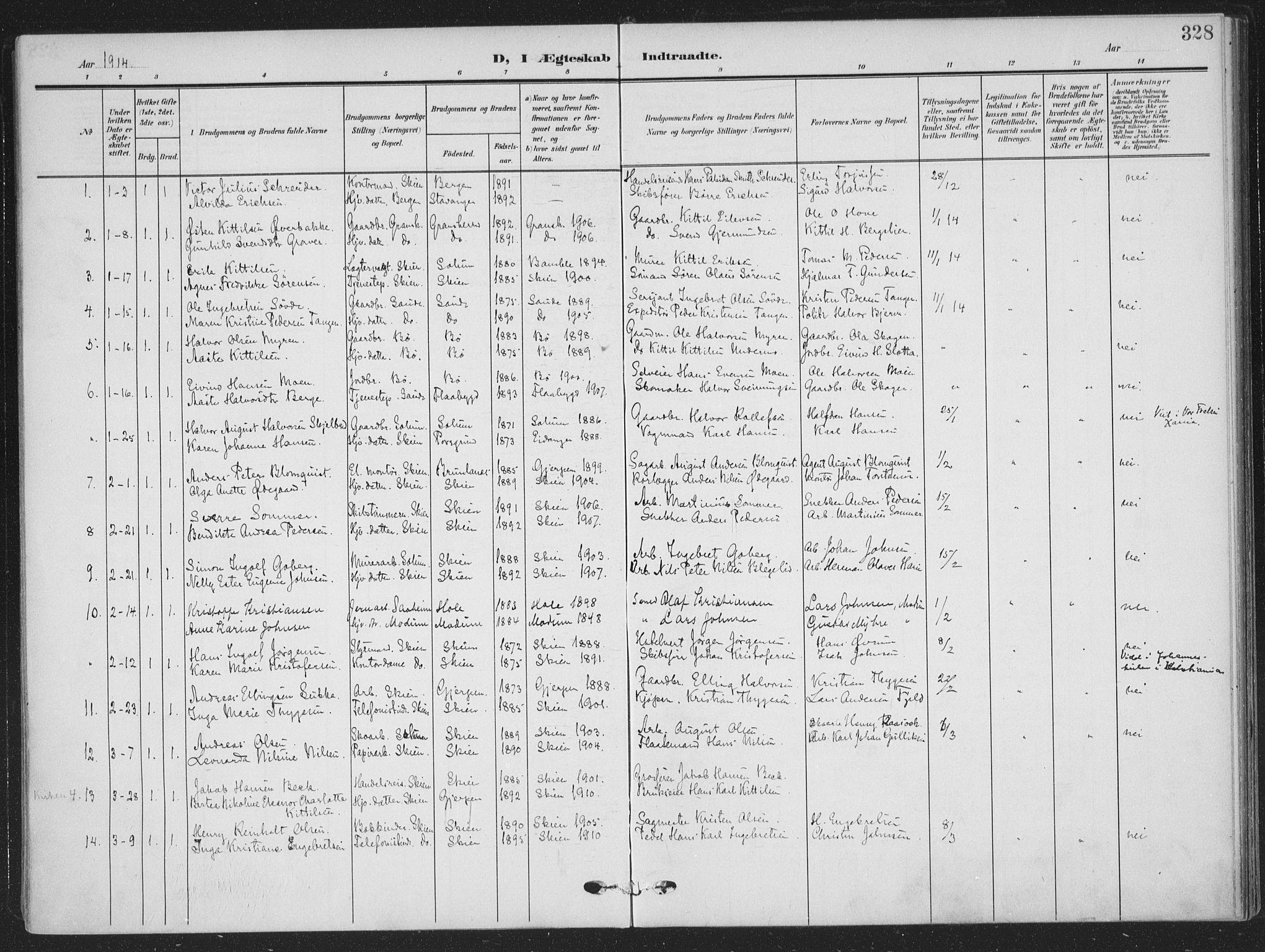 SAKO, Skien kirkebøker, F/Fa/L0012: Ministerialbok nr. 12, 1908-1914, s. 328