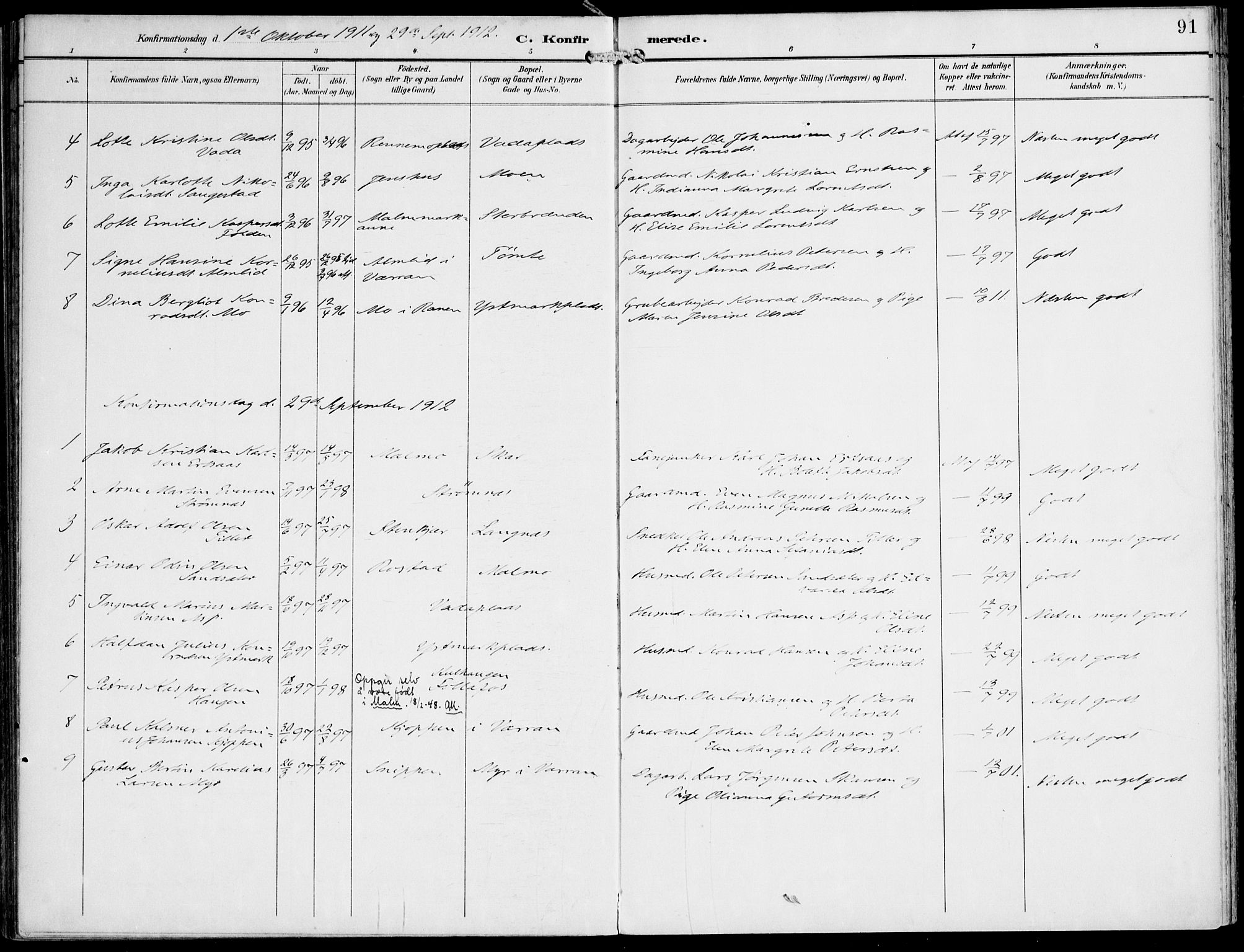 SAT, Ministerialprotokoller, klokkerbøker og fødselsregistre - Nord-Trøndelag, 745/L0430: Ministerialbok nr. 745A02, 1895-1913, s. 91