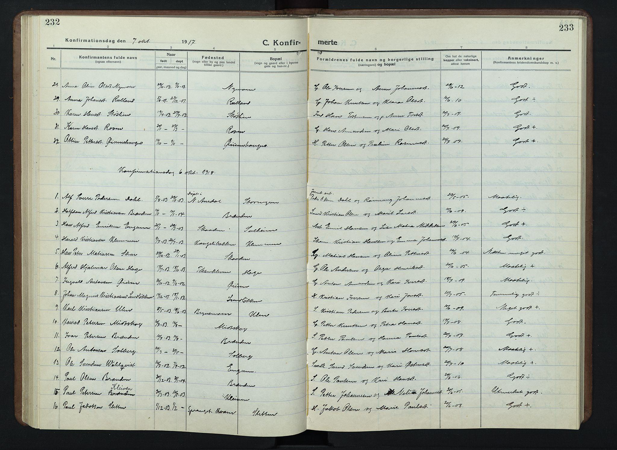 SAH, Nord-Fron prestekontor, Klokkerbok nr. 7, 1915-1946, s. 232-233
