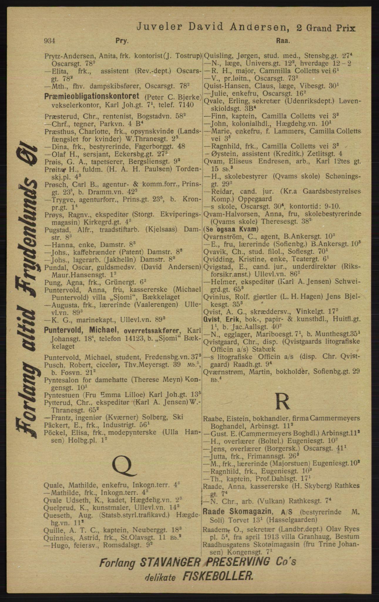 RA, Kristiania adressebok (publikasjon)*, 1913, s. 934
