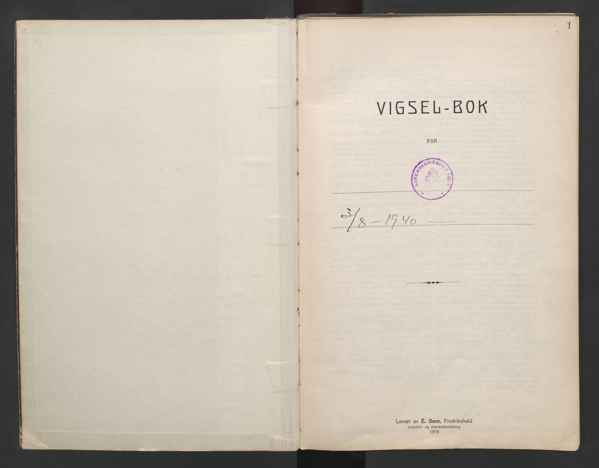 SAO, Aker sorenskriveri, L/Lc/Lcb/L0013: Vigselprotokoll, 1940-1941, s. 1