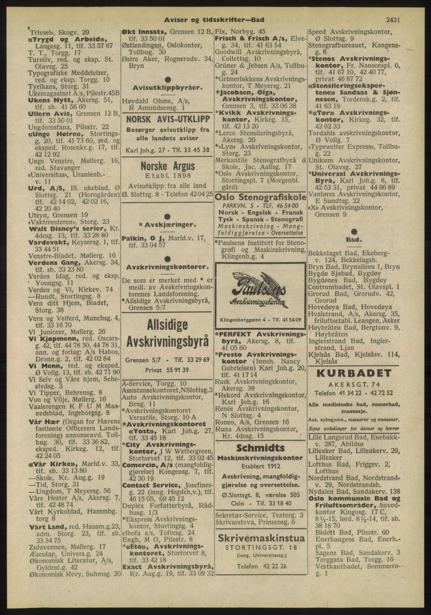 PUBL, Kristiania/Oslo adressebok, 1955, s. 2431