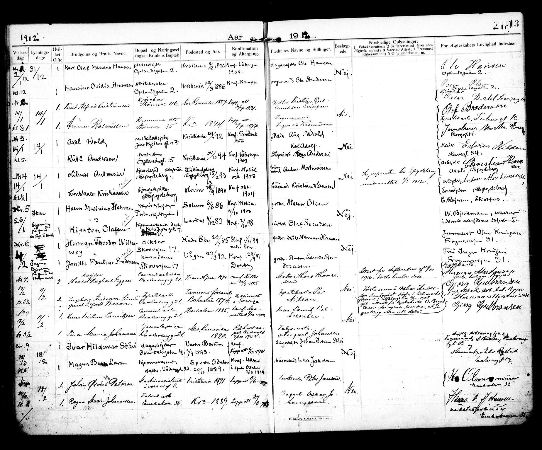 SAO, Vålerengen prestekontor Kirkebøker, H/Ha/L0002: Lysningsprotokoll nr. 2, 1910-1918, s. 13