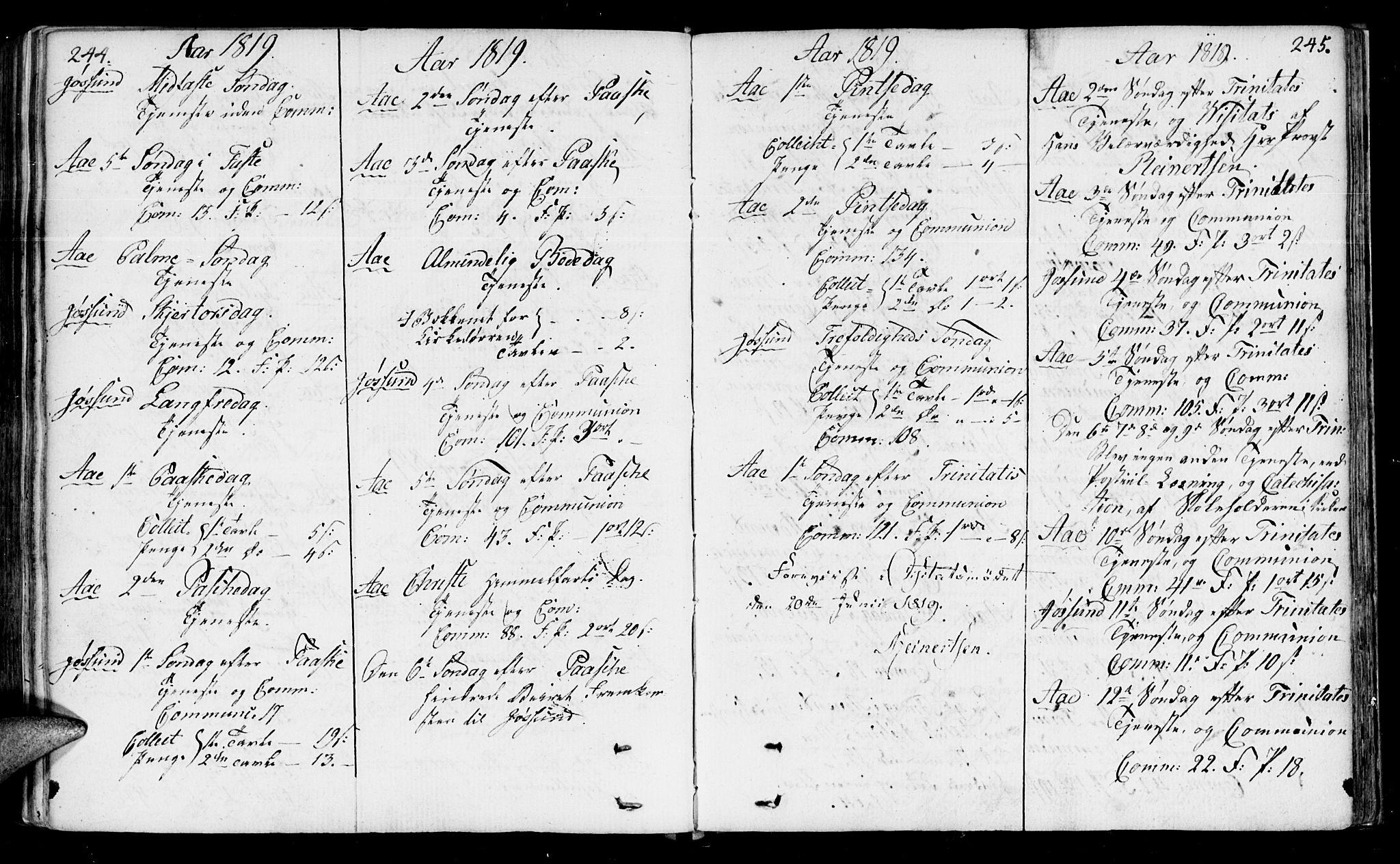 SAT, Ministerialprotokoller, klokkerbøker og fødselsregistre - Sør-Trøndelag, 655/L0674: Ministerialbok nr. 655A03, 1802-1826, s. 244-245
